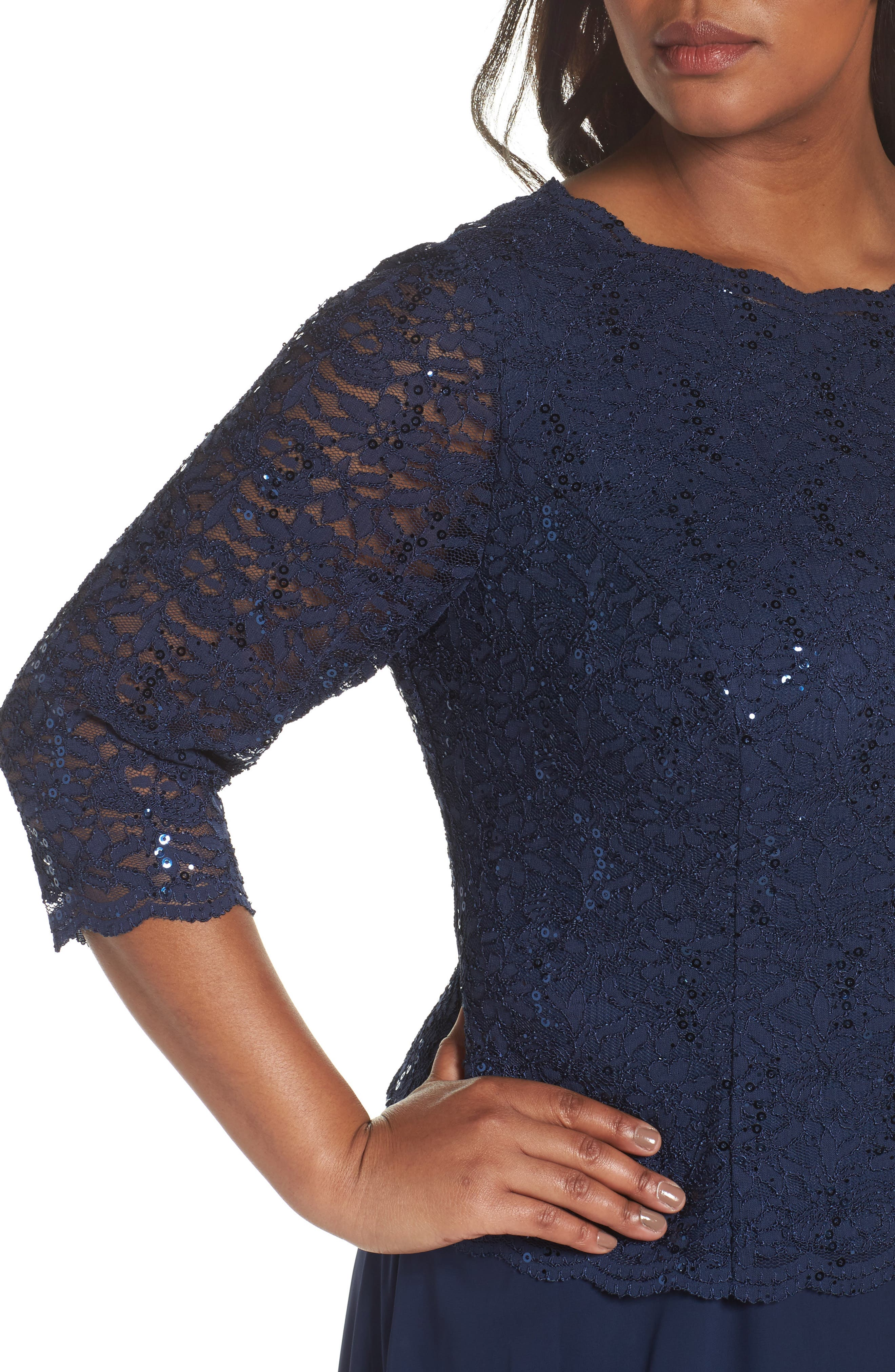 Embellished Lace & Chiffon Gown,                             Alternate thumbnail 4, color,                             NAVY
