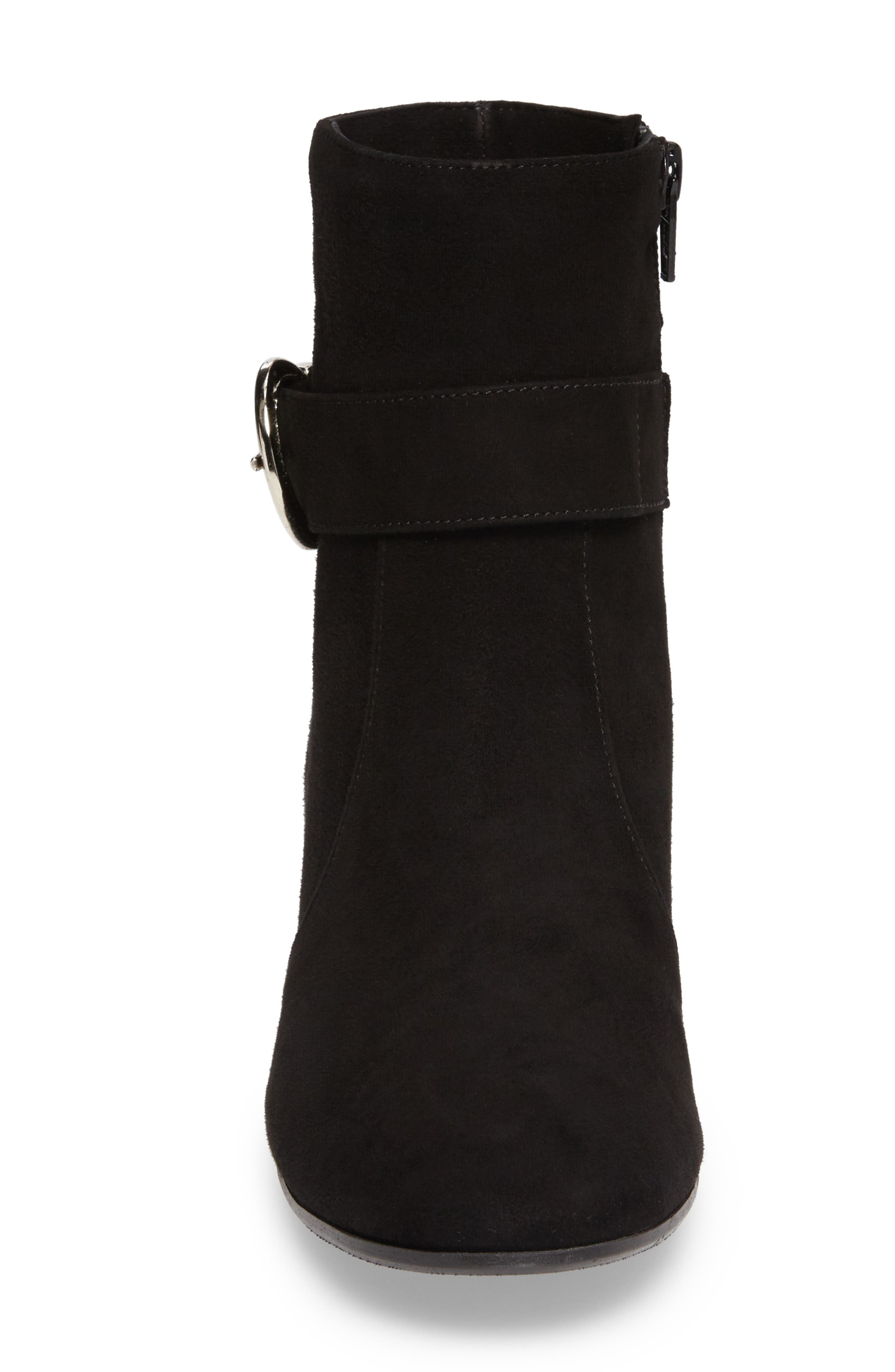 Maddie Buckle Strap Bootie,                             Alternate thumbnail 4, color,                             001