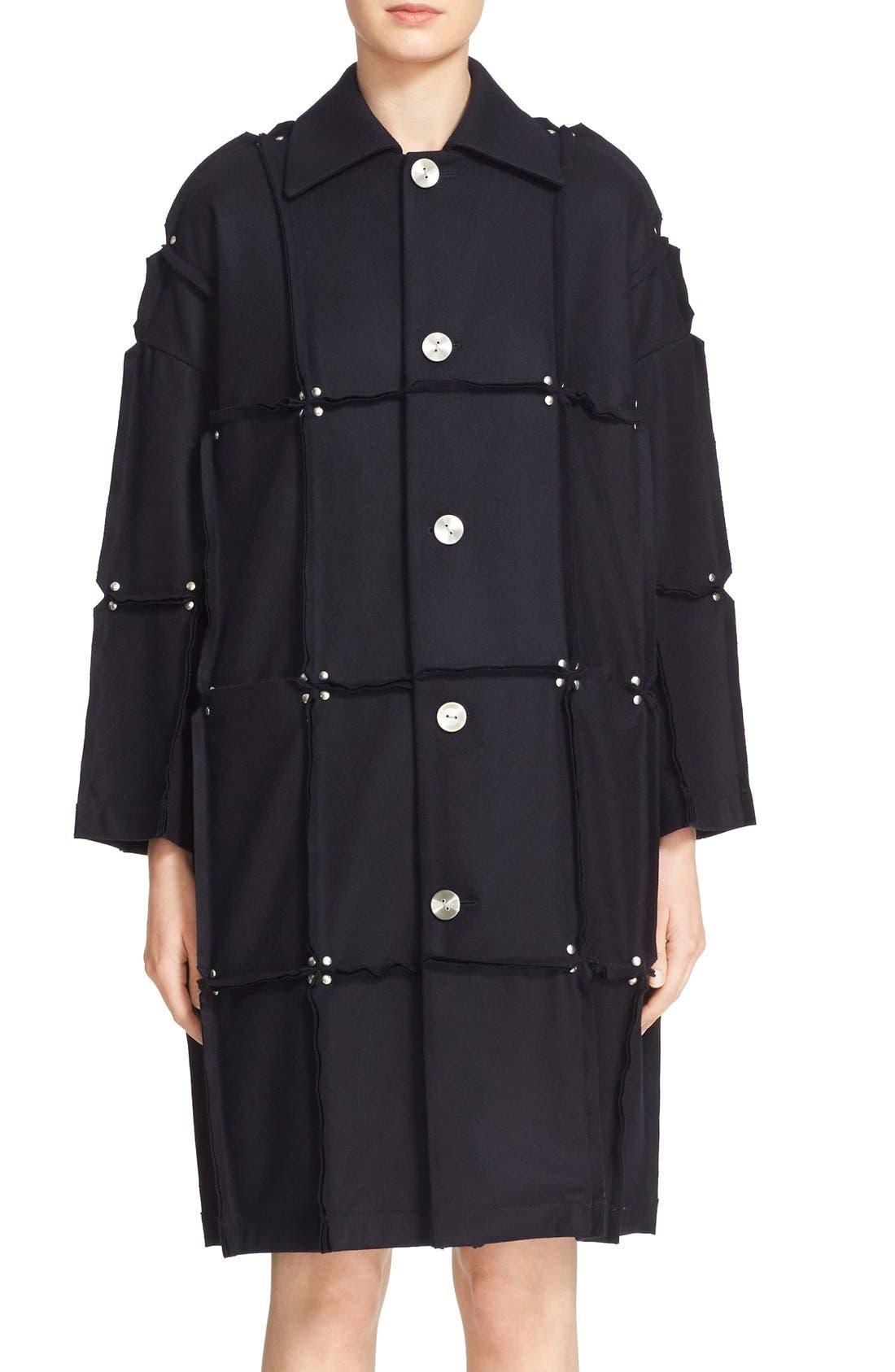 Rivet Detail Paneled Wool Coat,                             Main thumbnail 1, color,                             410