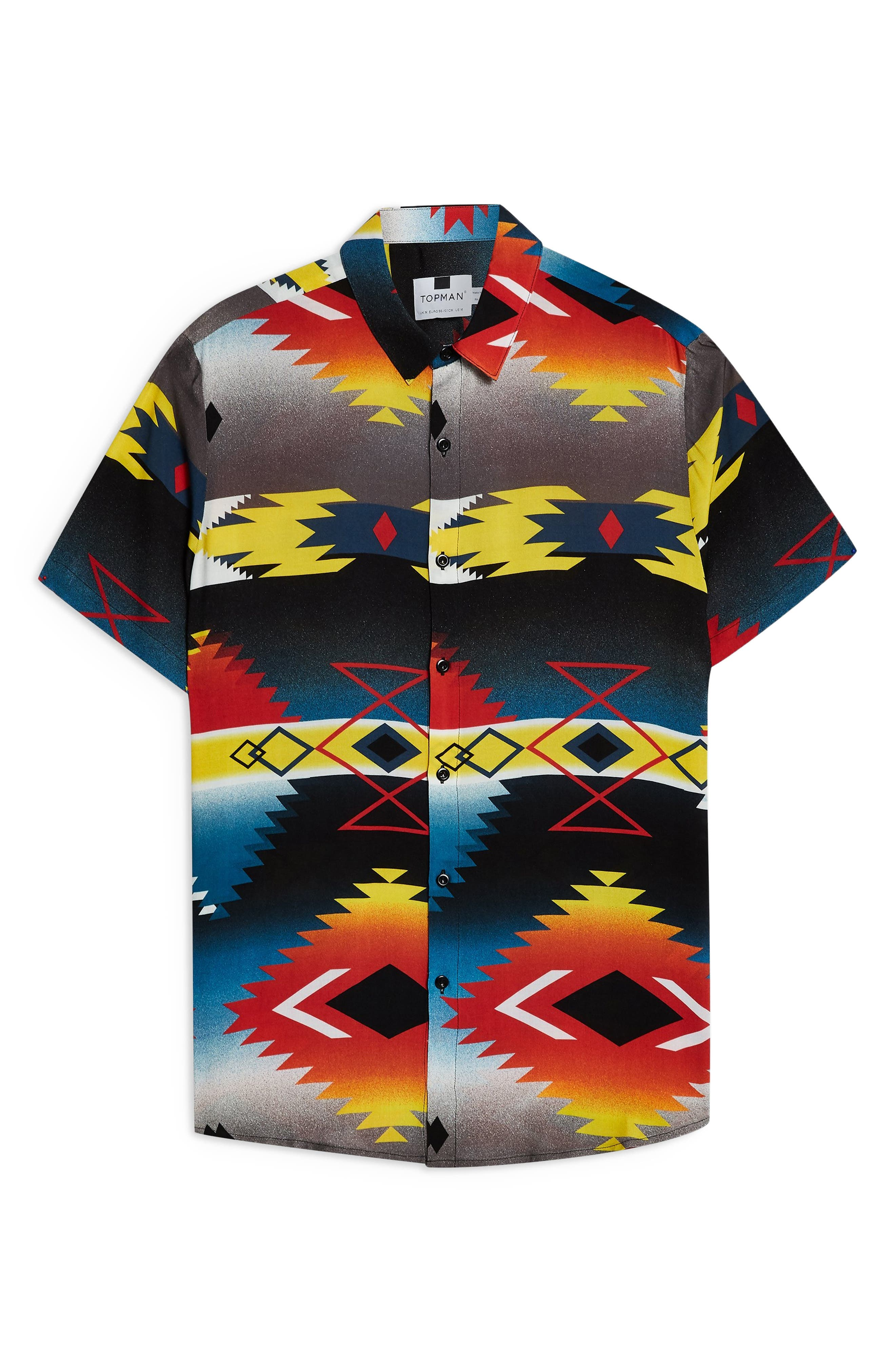 TOPMAN,                             Hyke Print Shirt,                             Alternate thumbnail 4, color,                             BLACK MULTI