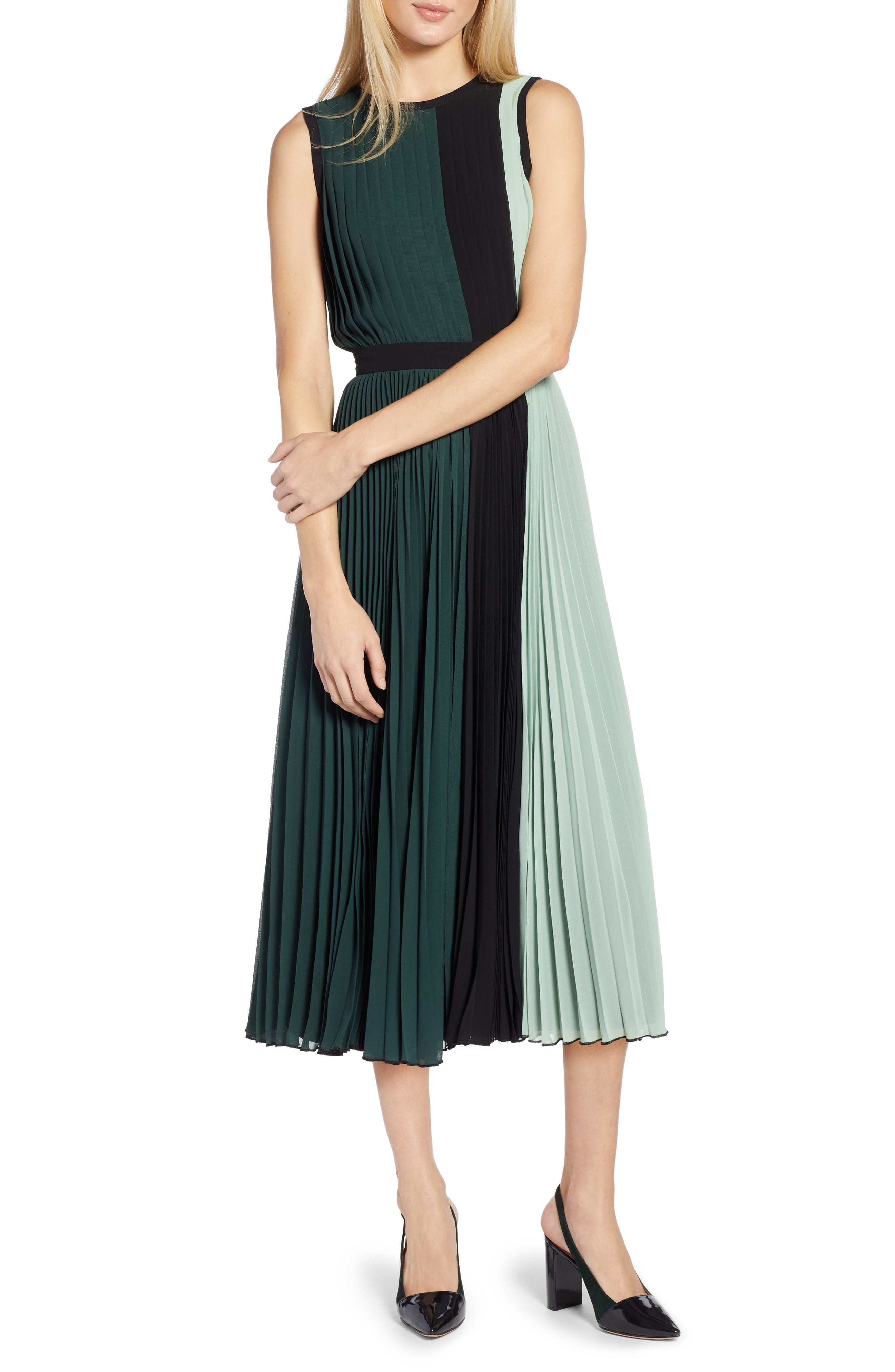 petite women's halogen x atlantic-pacific colorblock pleated midi dress, size 6p - green
