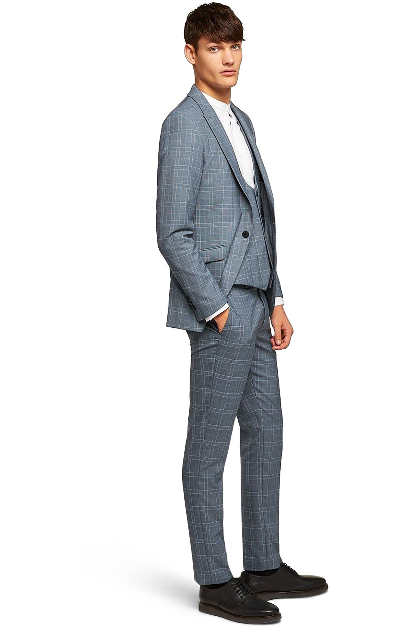 Skinny Fit Check Suit Jacket,                             Alternate thumbnail 5, color,                             400