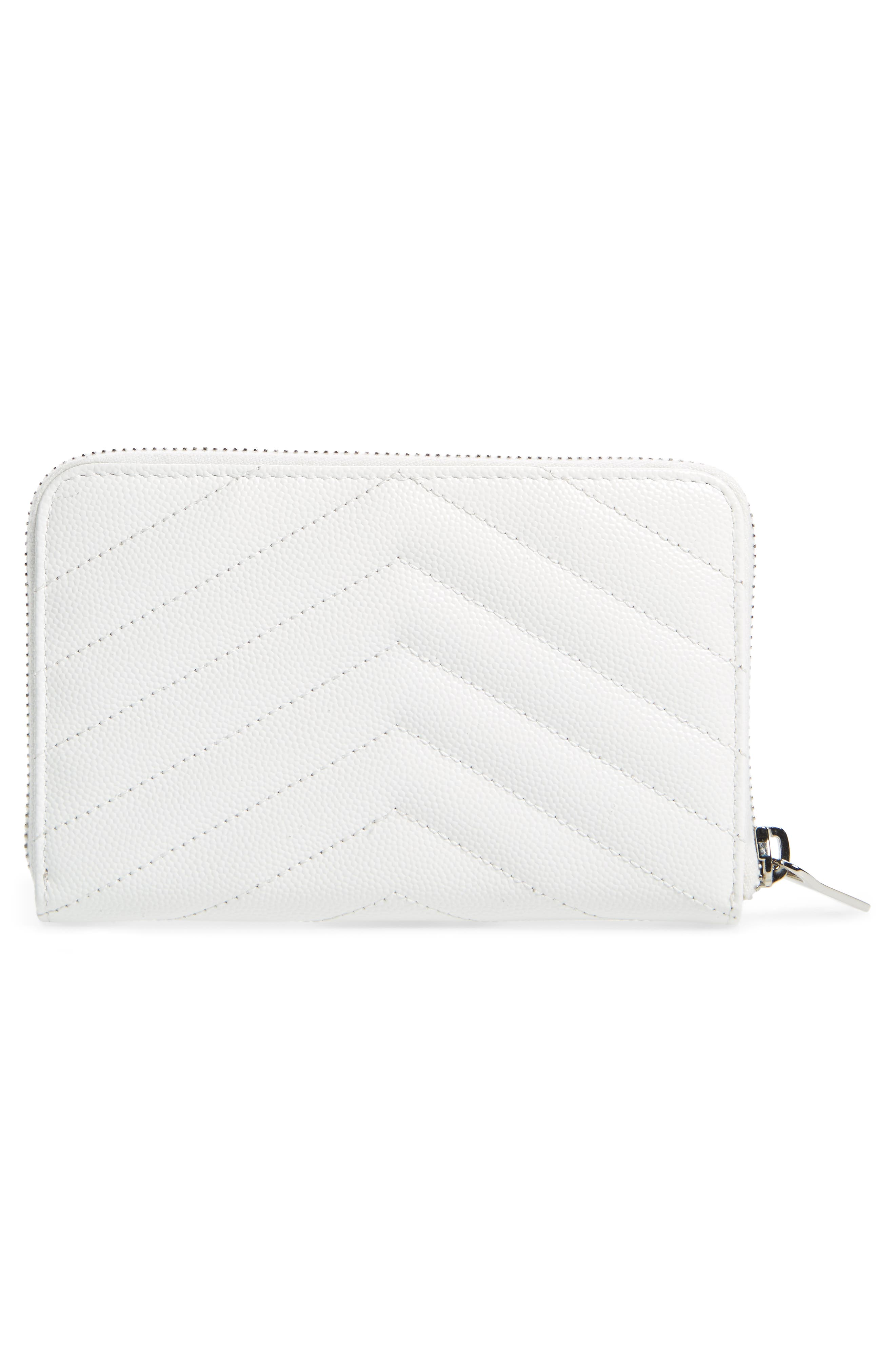 Small Grained Leather Zip Around Wallet,                             Alternate thumbnail 4, color,                             OPTIC WHITE