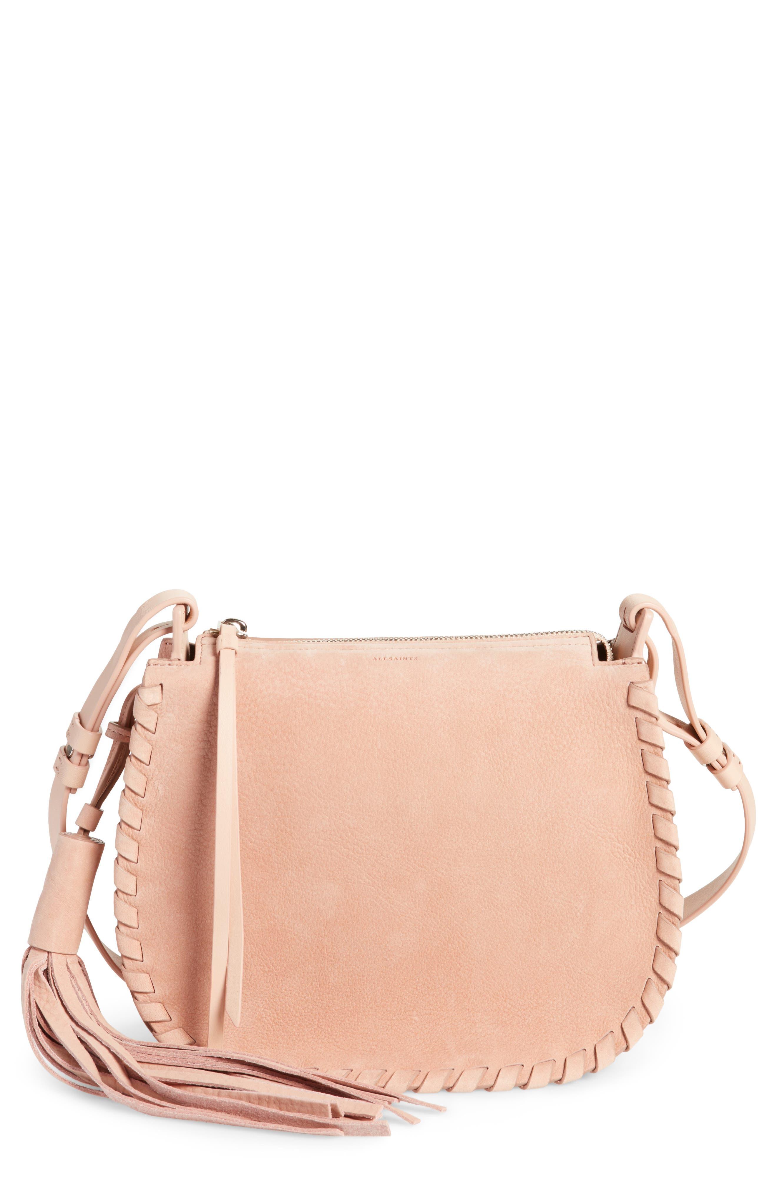Mori Suede Crossbody Bag,                         Main,                         color, NUDE PINK