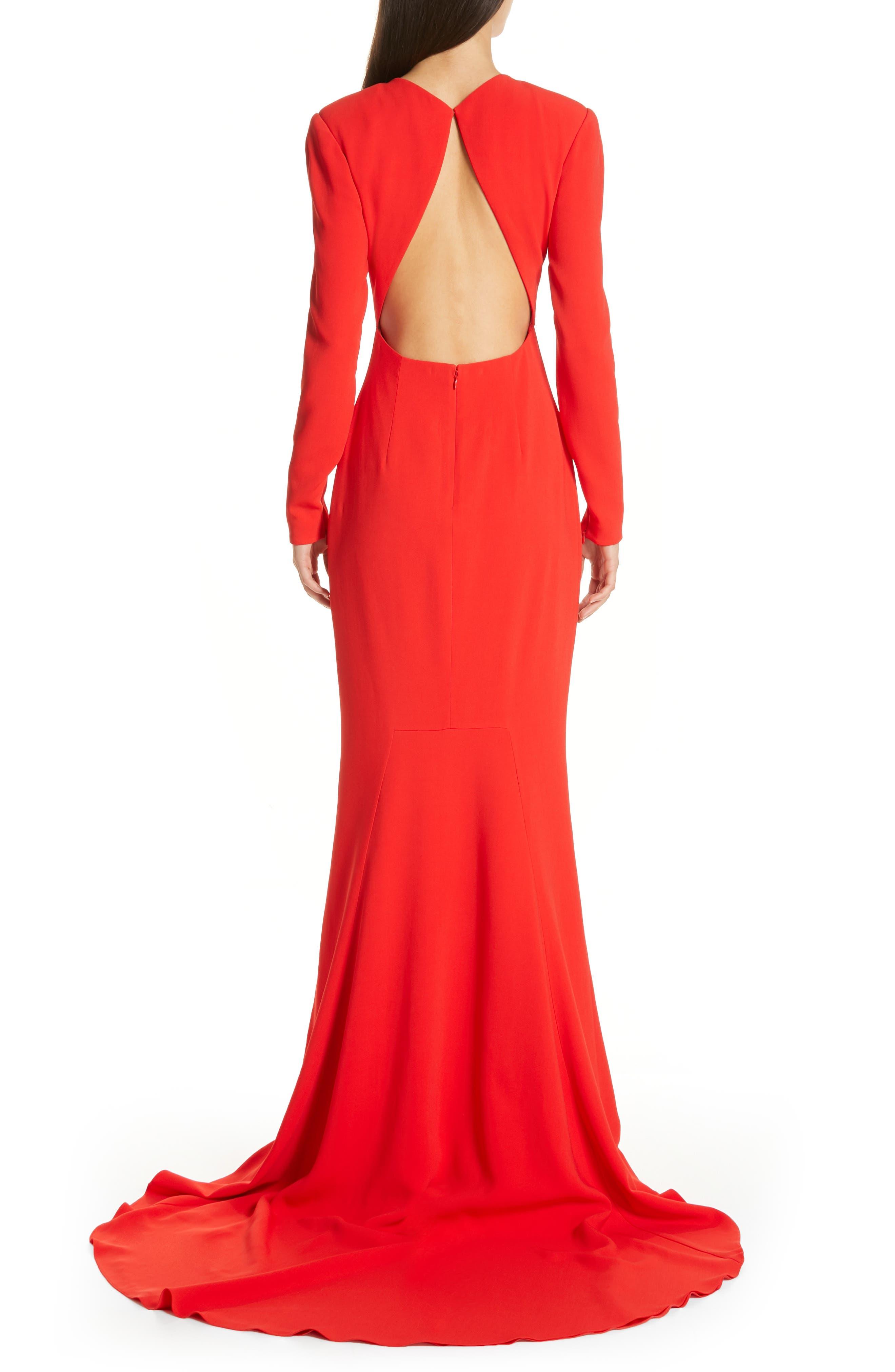 Ruby Cutout Sheath Gown,                             Alternate thumbnail 2, color,                             SCARLET