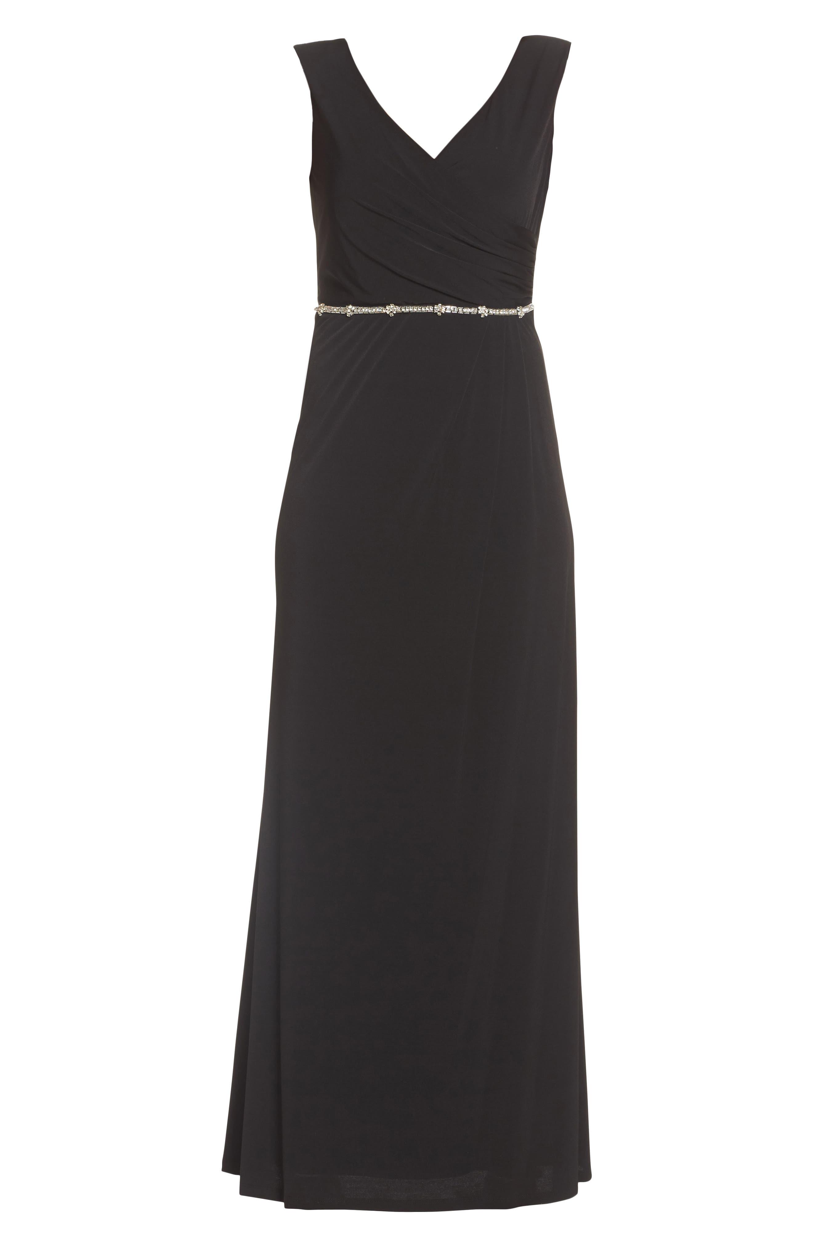 Embellished Drape Back Gown,                             Alternate thumbnail 6, color,                             001