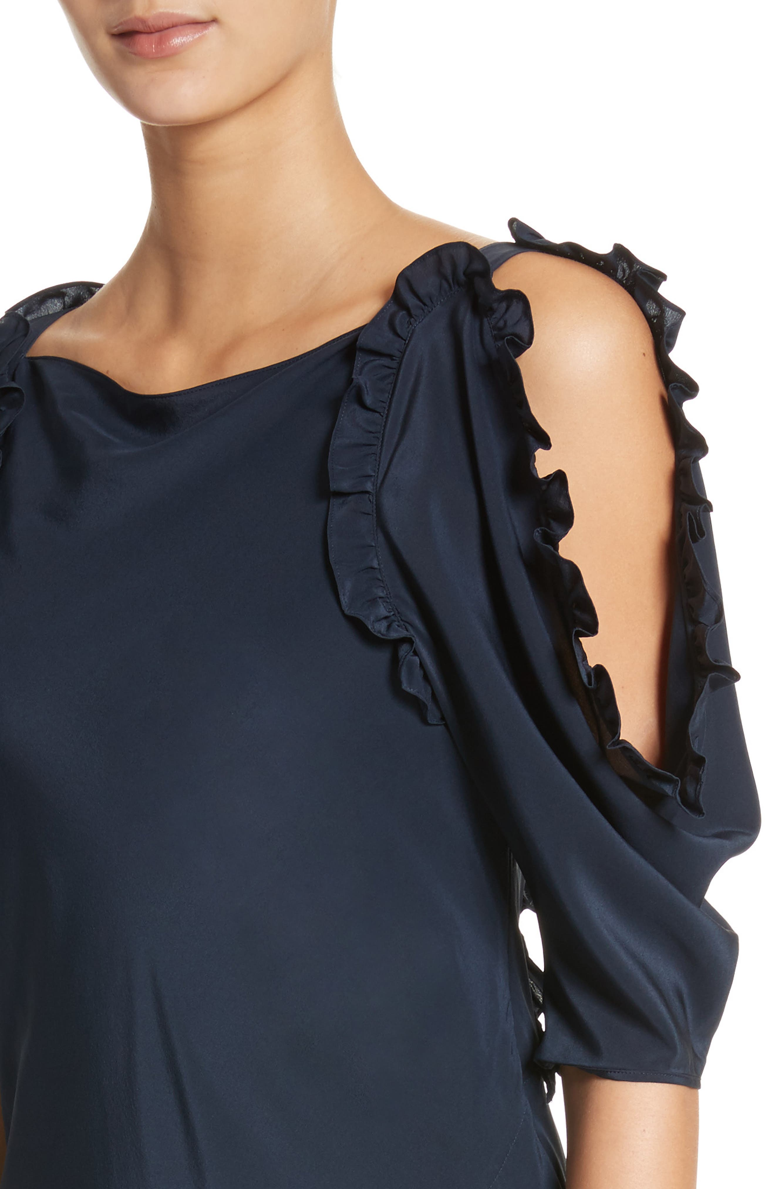 Didi Ruffle Silk Dress,                             Alternate thumbnail 4, color,                             410