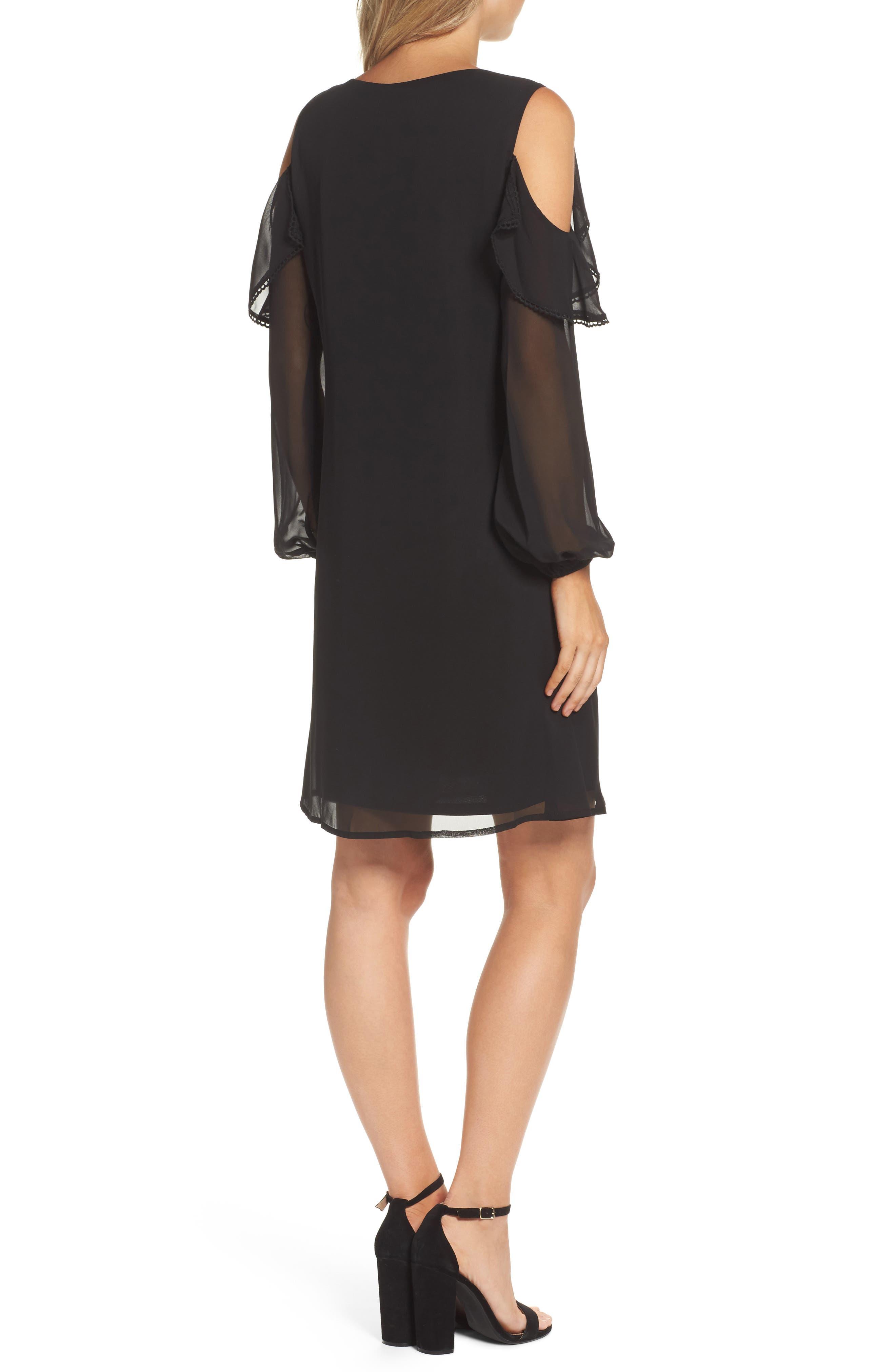 TAYLOR DRESSES,                             Chiffon Cold Shoulder A-Line Dress,                             Alternate thumbnail 2, color,                             001