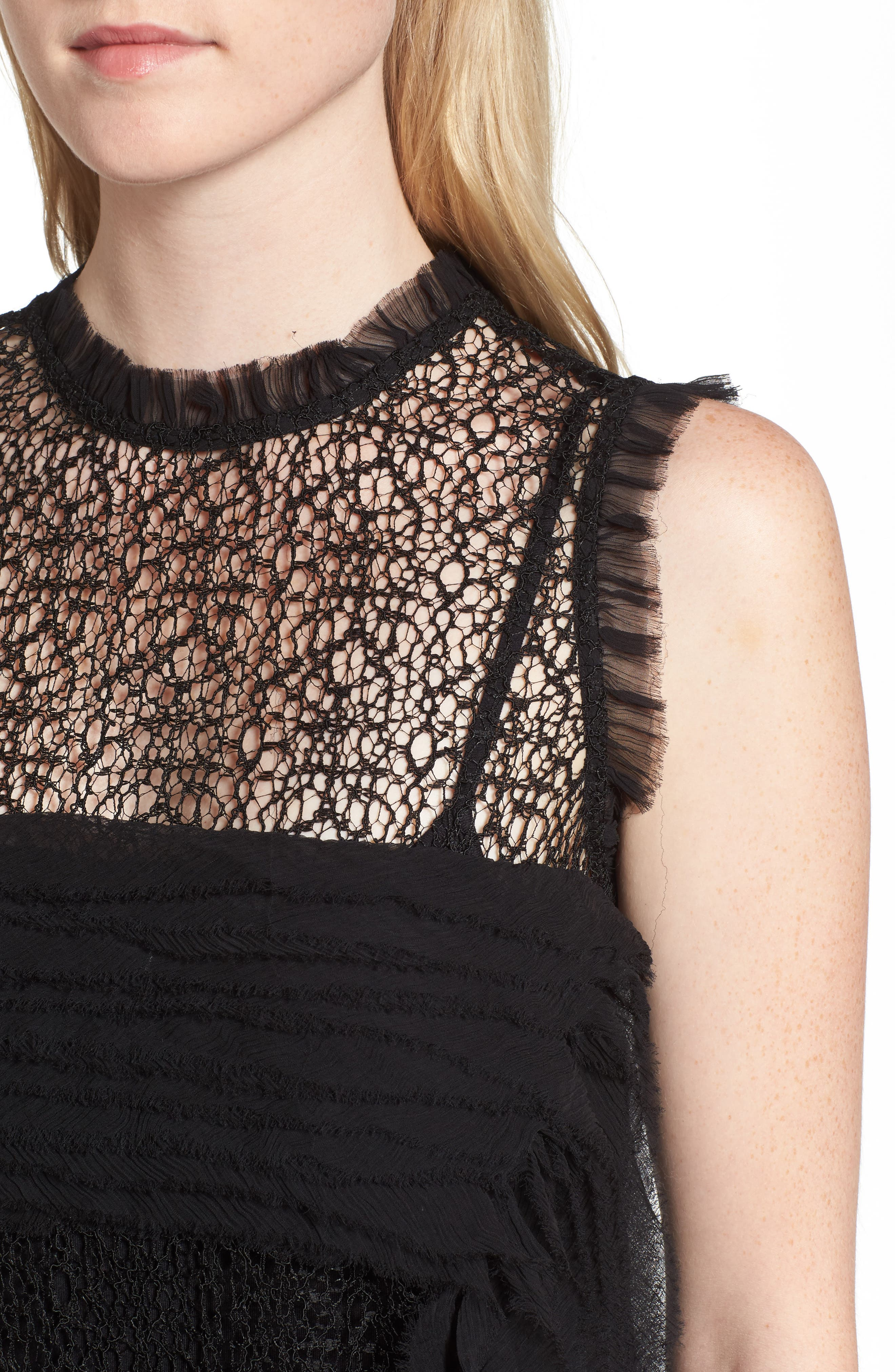 Trouvé Chiffon & Lace Top,                             Alternate thumbnail 4, color,