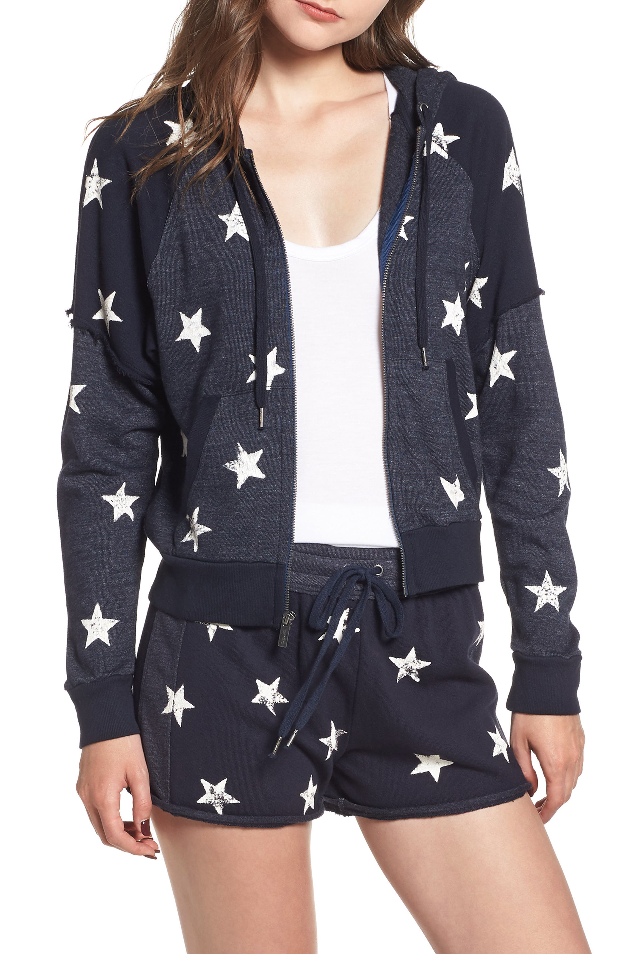 Star Zip-Up Hoodie,                         Main,                         color, NAVY/ WHITE