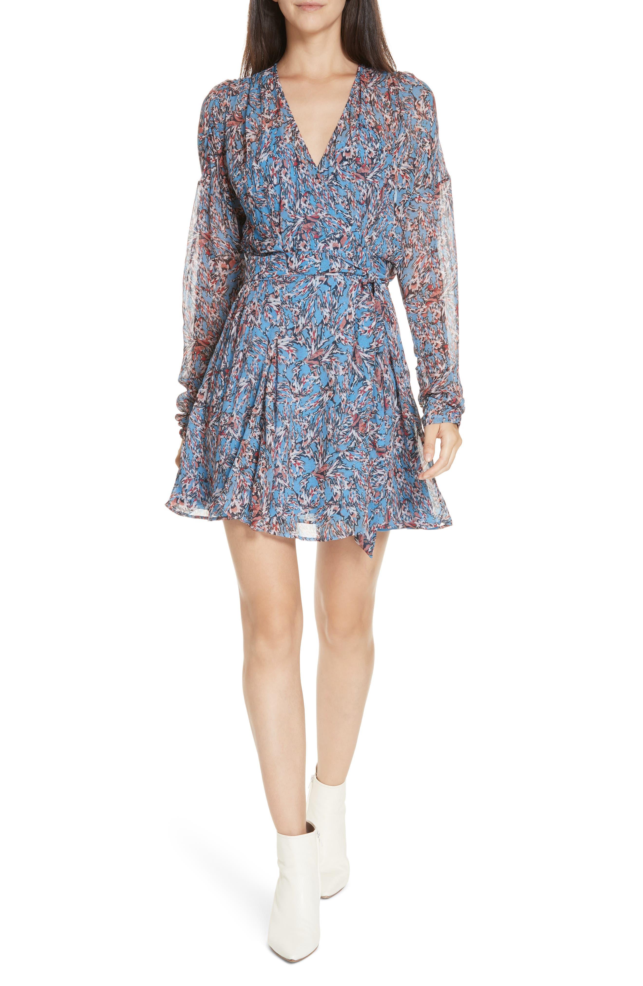 Iro Bustle Floral Print Minidress, 6 FR - Blue