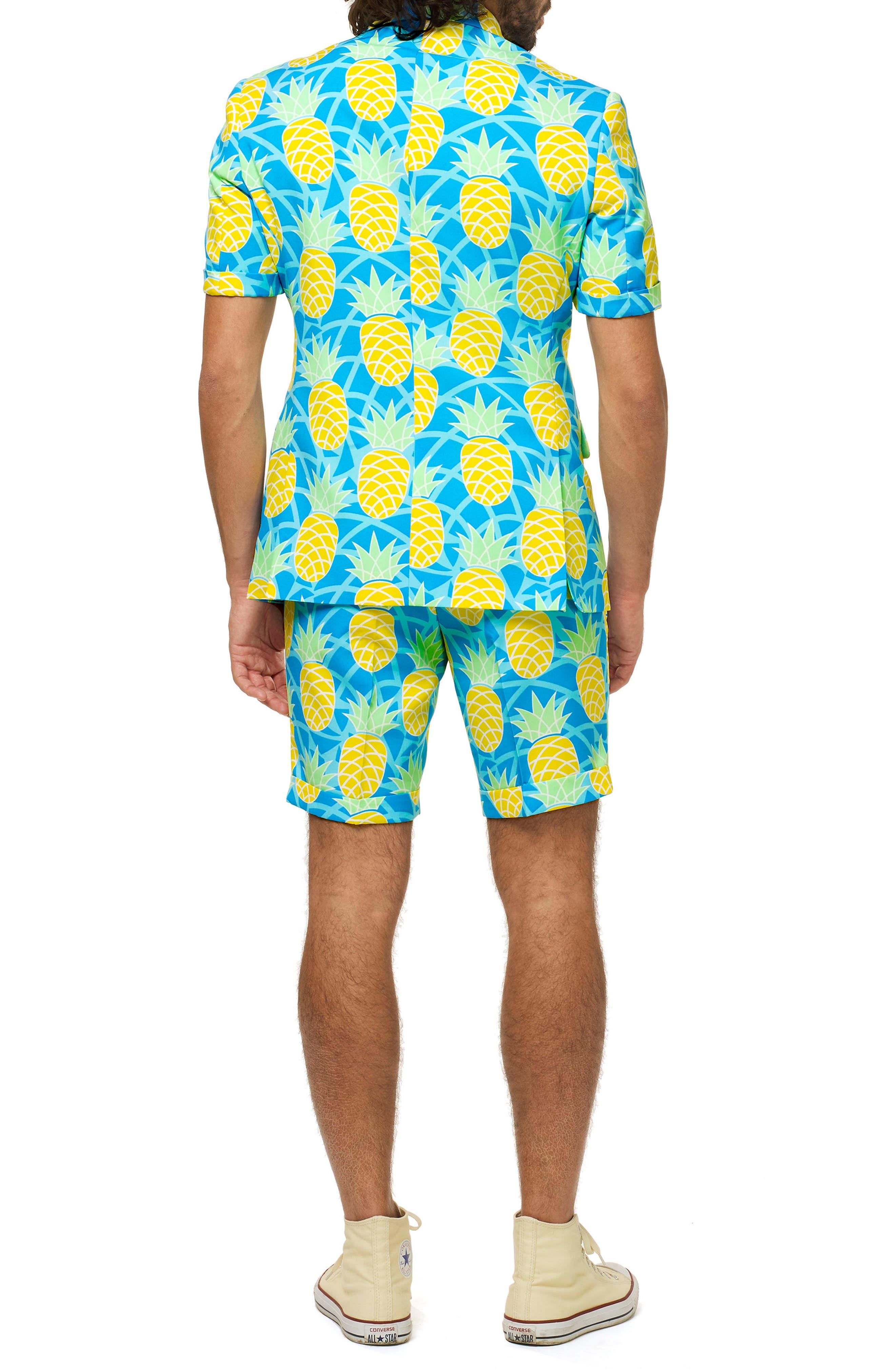 Shineapple Trim Fit Two-Piece Short Suit with Tie,                             Alternate thumbnail 2, color,                             400