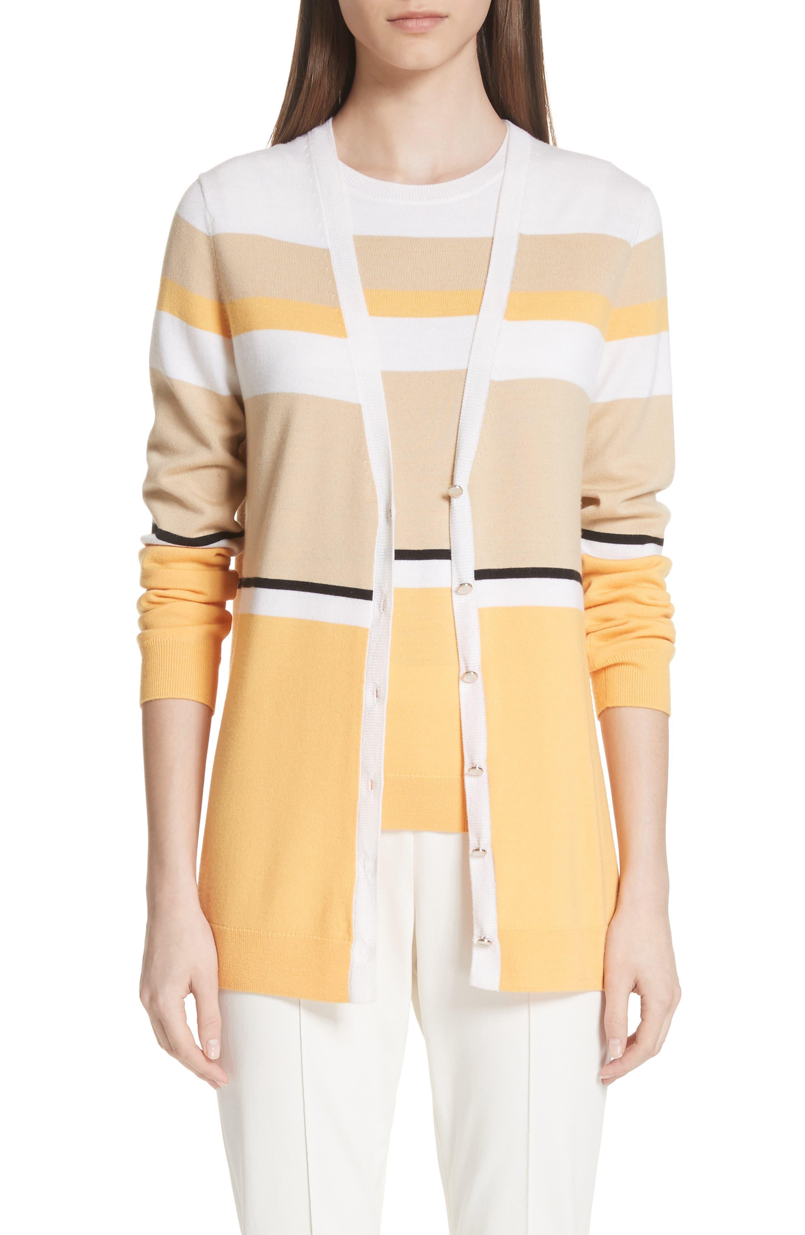 Stripe Jersey Knit Cardigan,                             Main thumbnail 1, color,                             WHITE MULTI