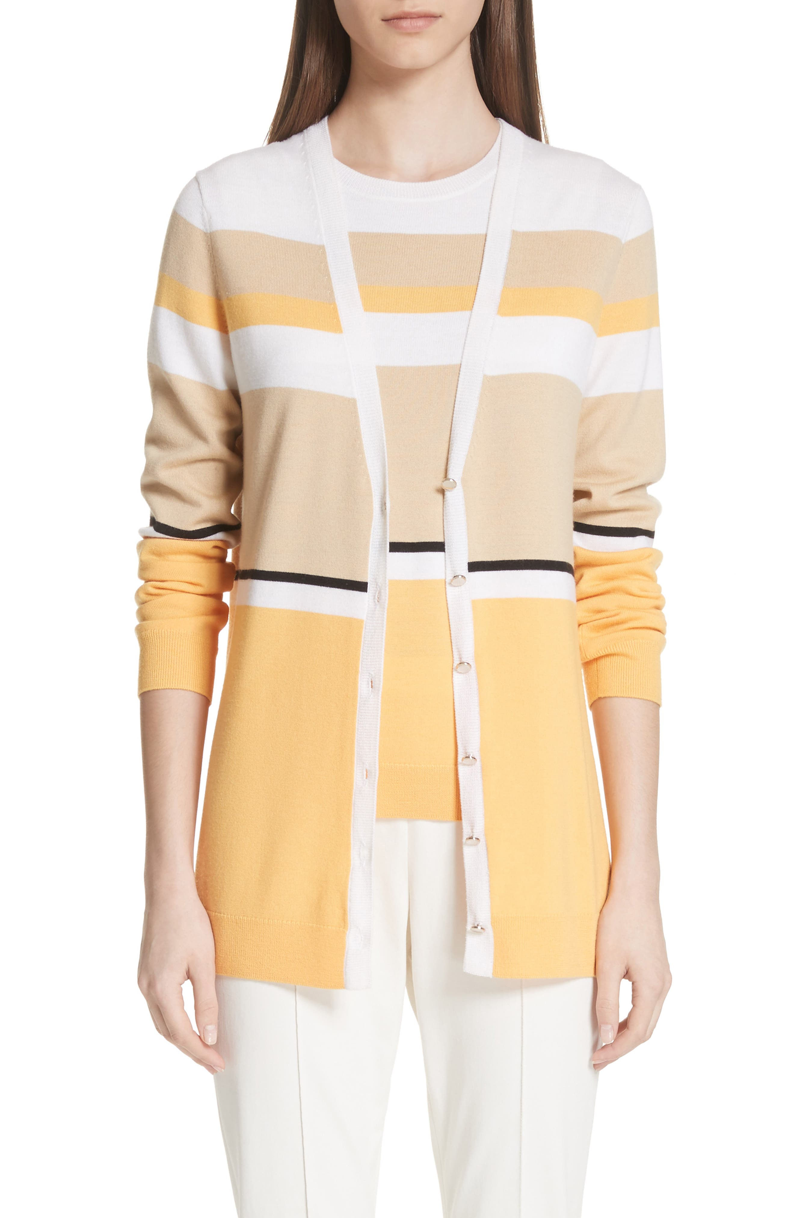 Stripe Jersey Knit Cardigan,                         Main,                         color, WHITE MULTI