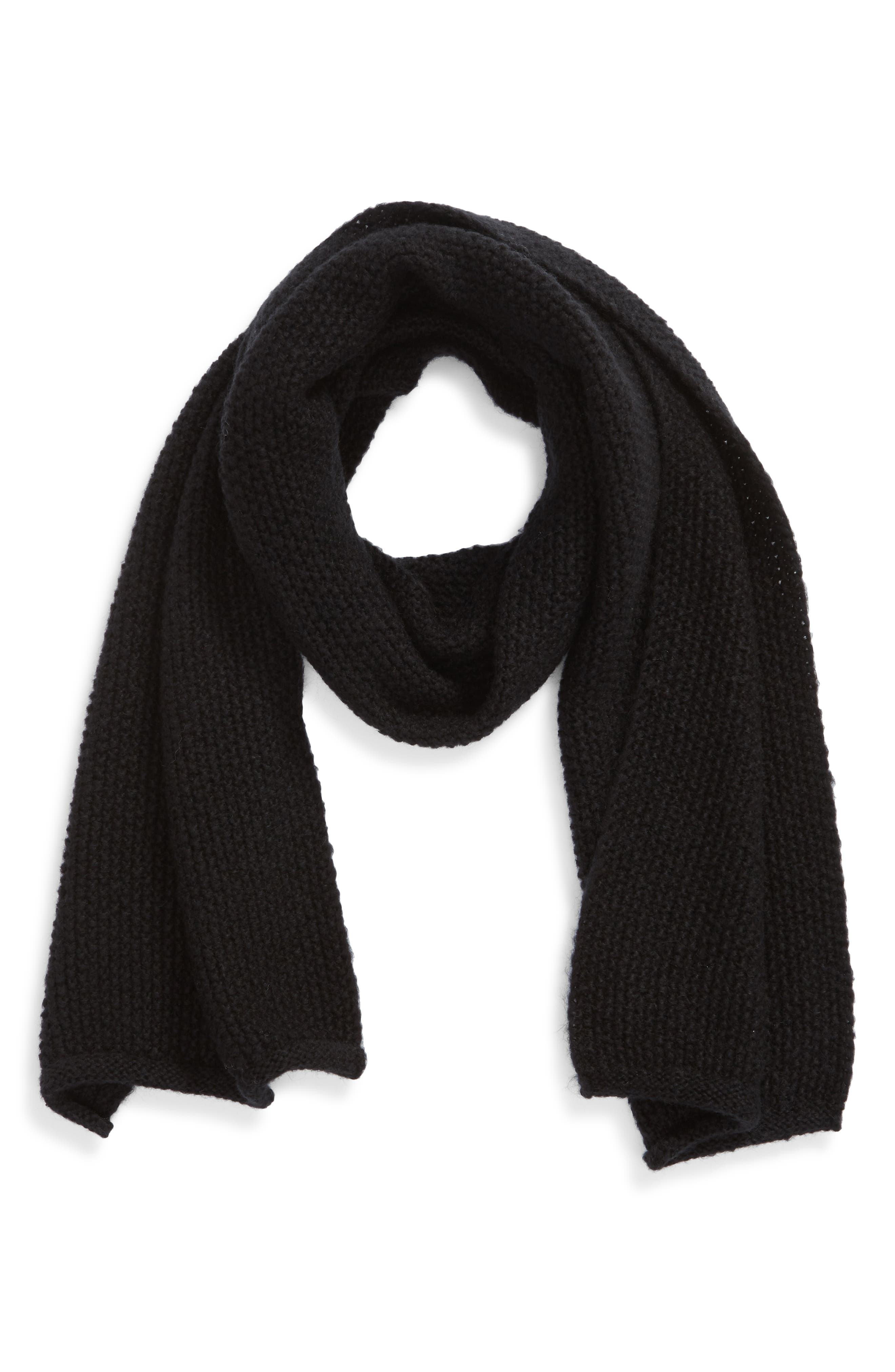 Solid Muffler Scarf,                             Alternate thumbnail 2, color,                             BLACK