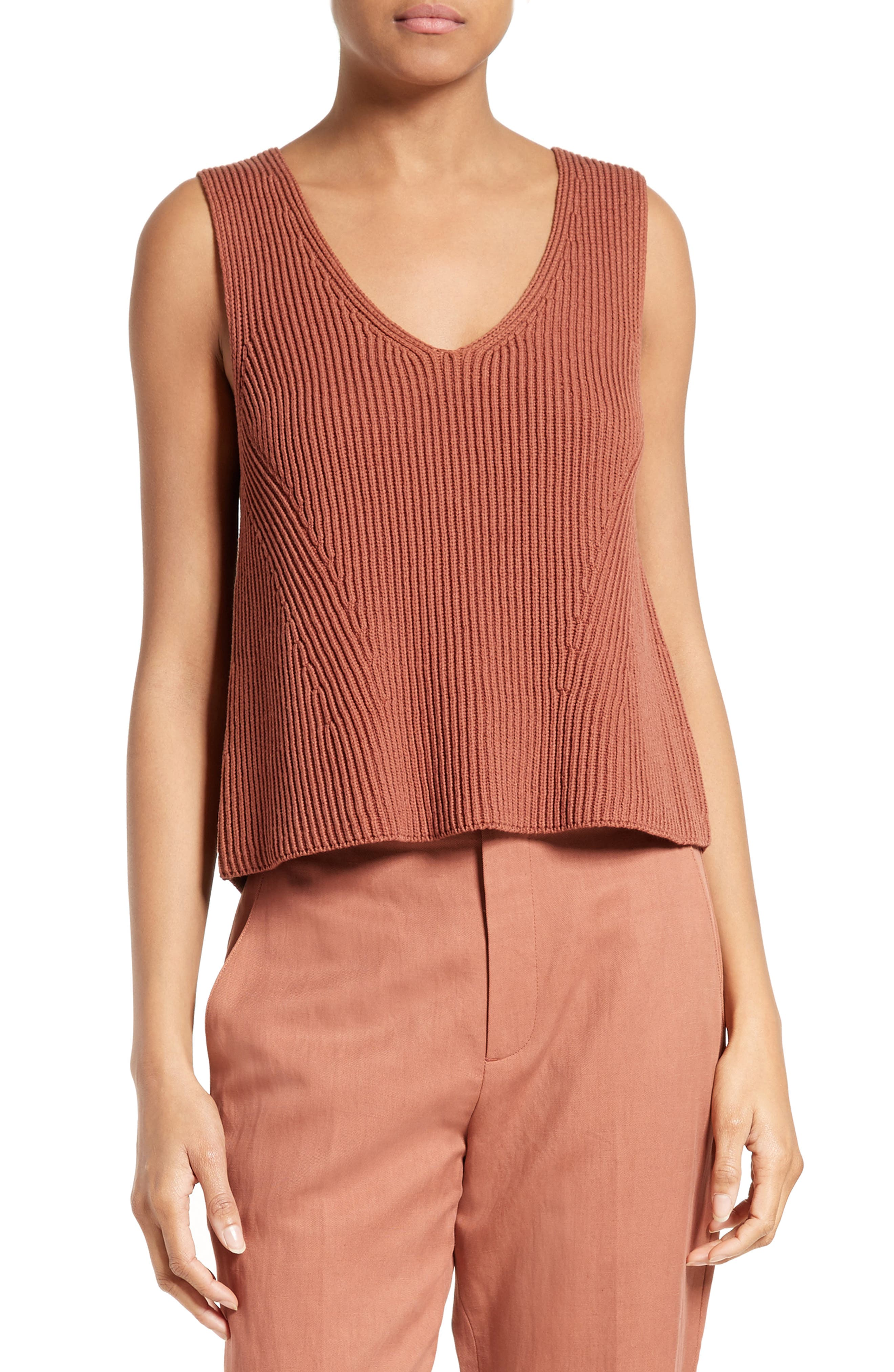 Ribbed Cotton Tank,                         Main,                         color, 208