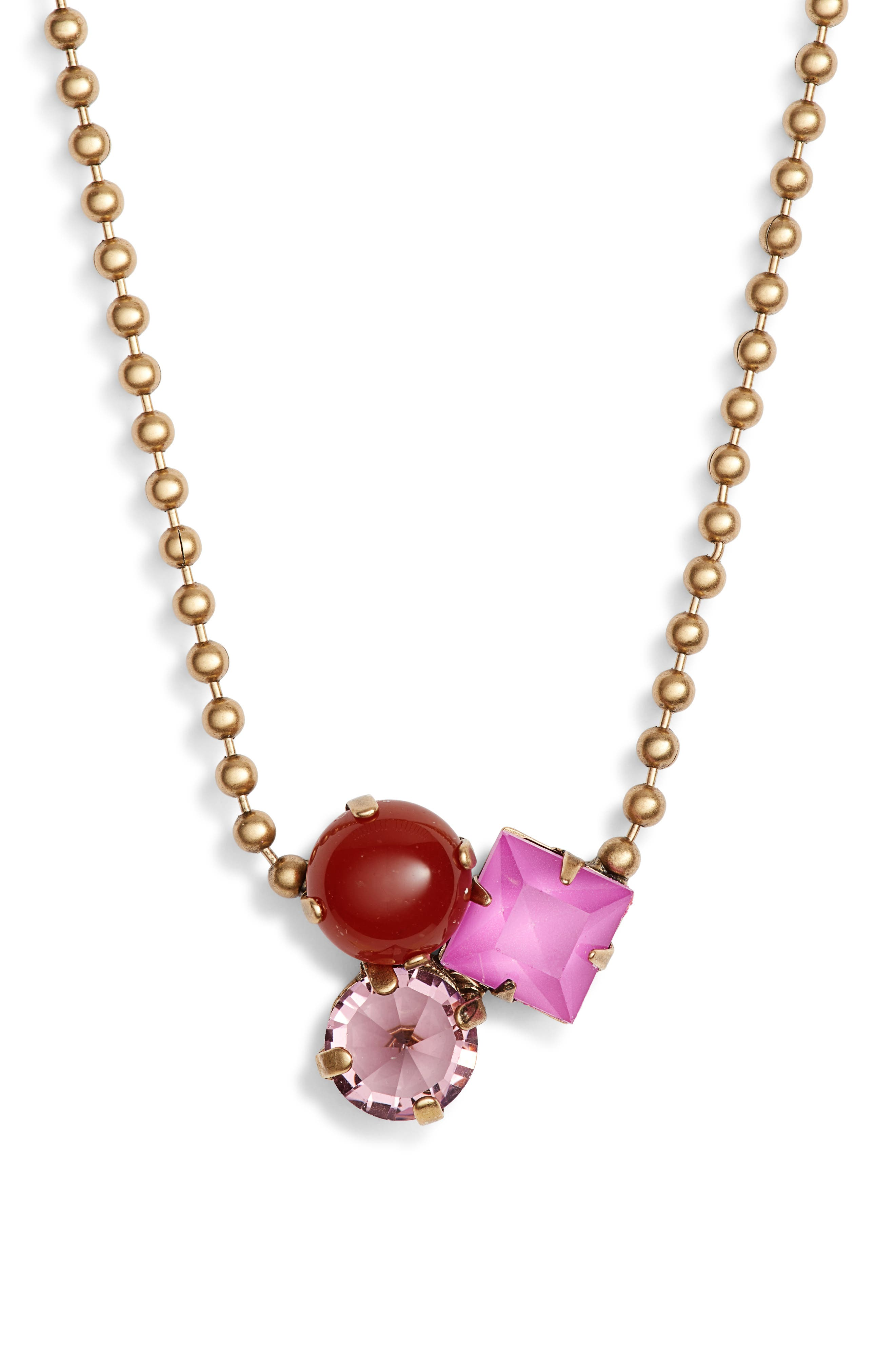 Harlow Cluster Crystal Necklace,                             Main thumbnail 1, color,                             PURPLE MULTI