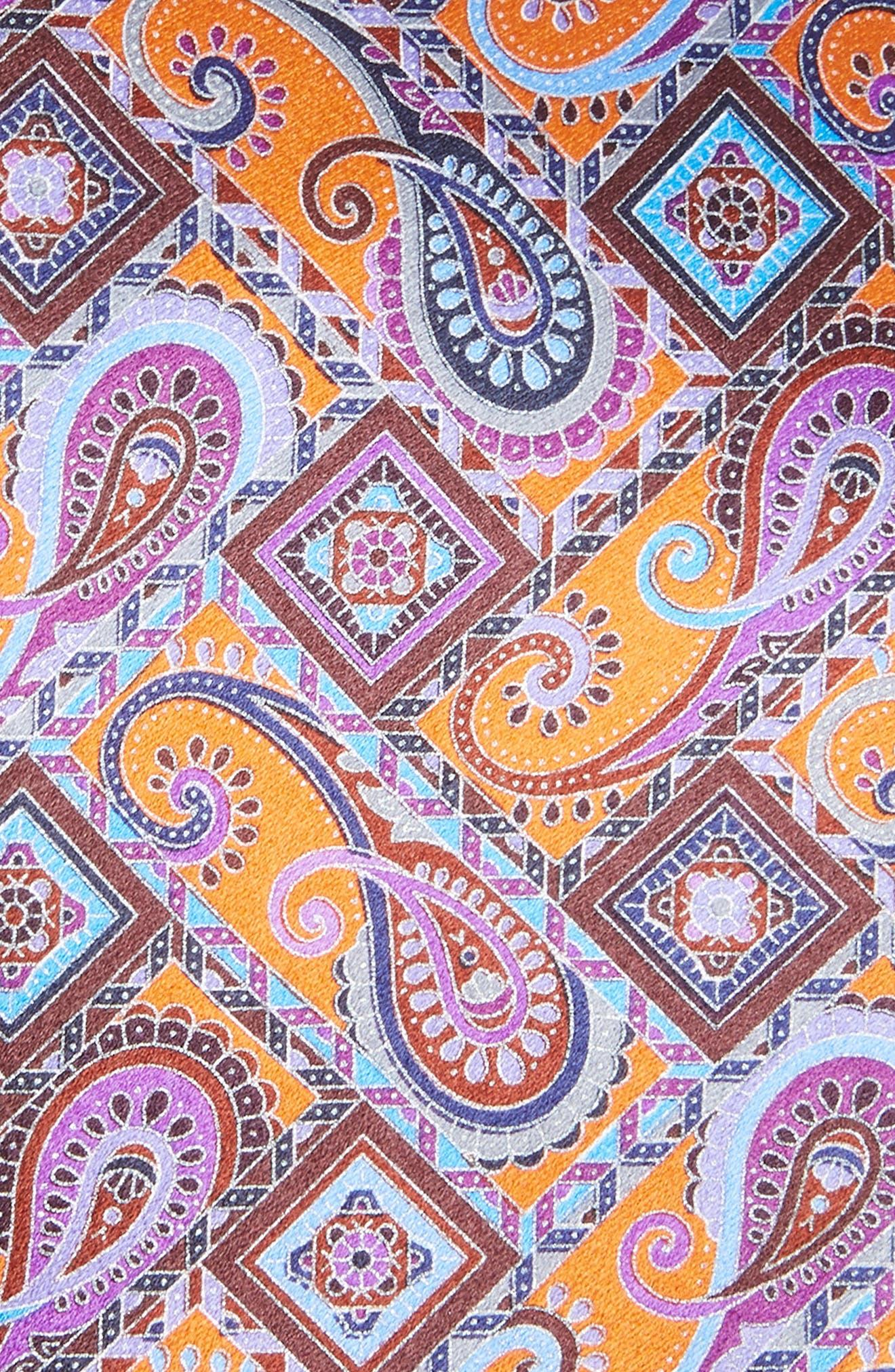 Quindici + Quindici Paisley Silk Tie,                             Alternate thumbnail 2, color,                             ORANGE