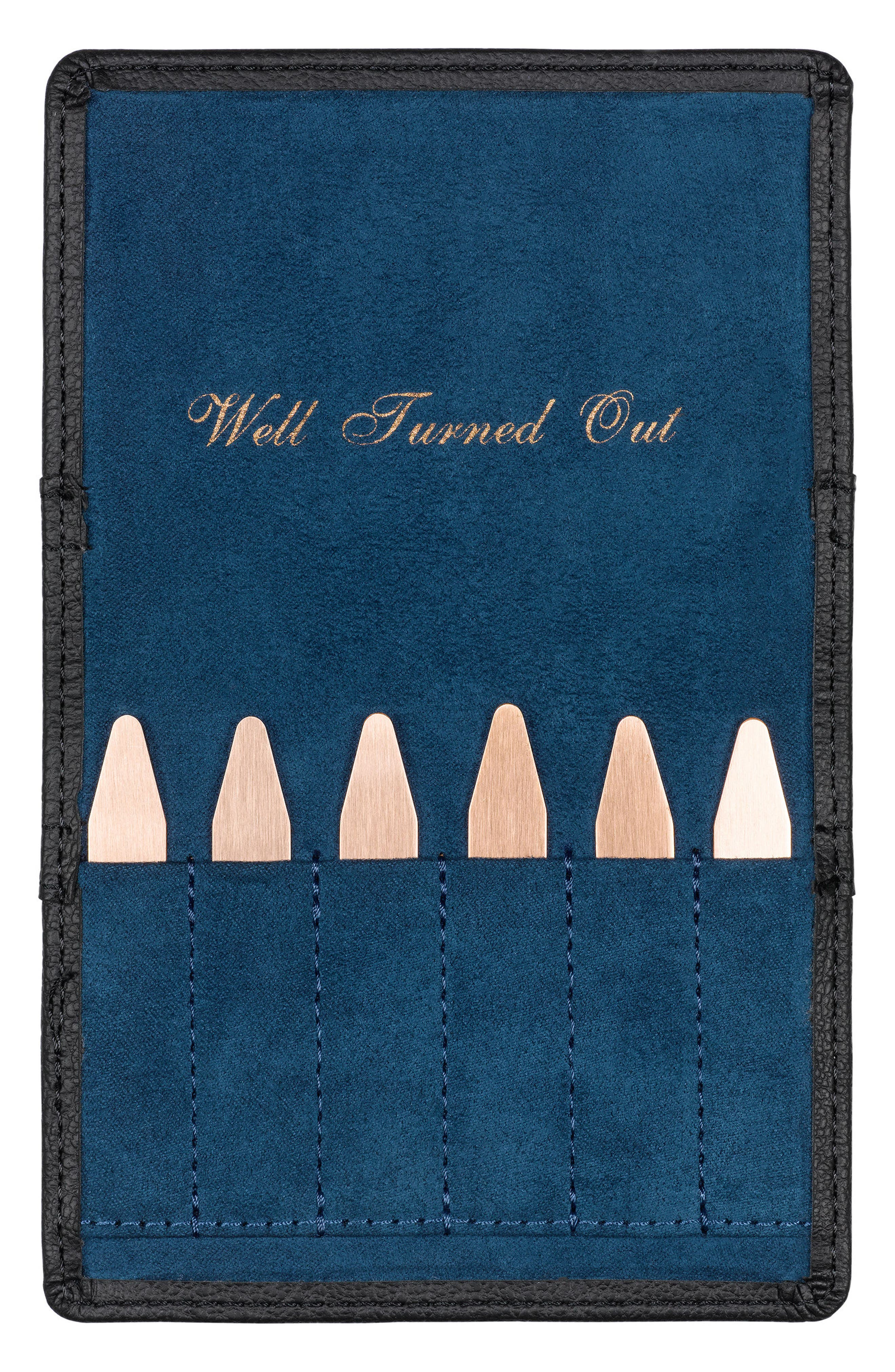 Ted Baker London Set of 6 Collar Stays in Brogued Pouch,                             Alternate thumbnail 3, color,                             001