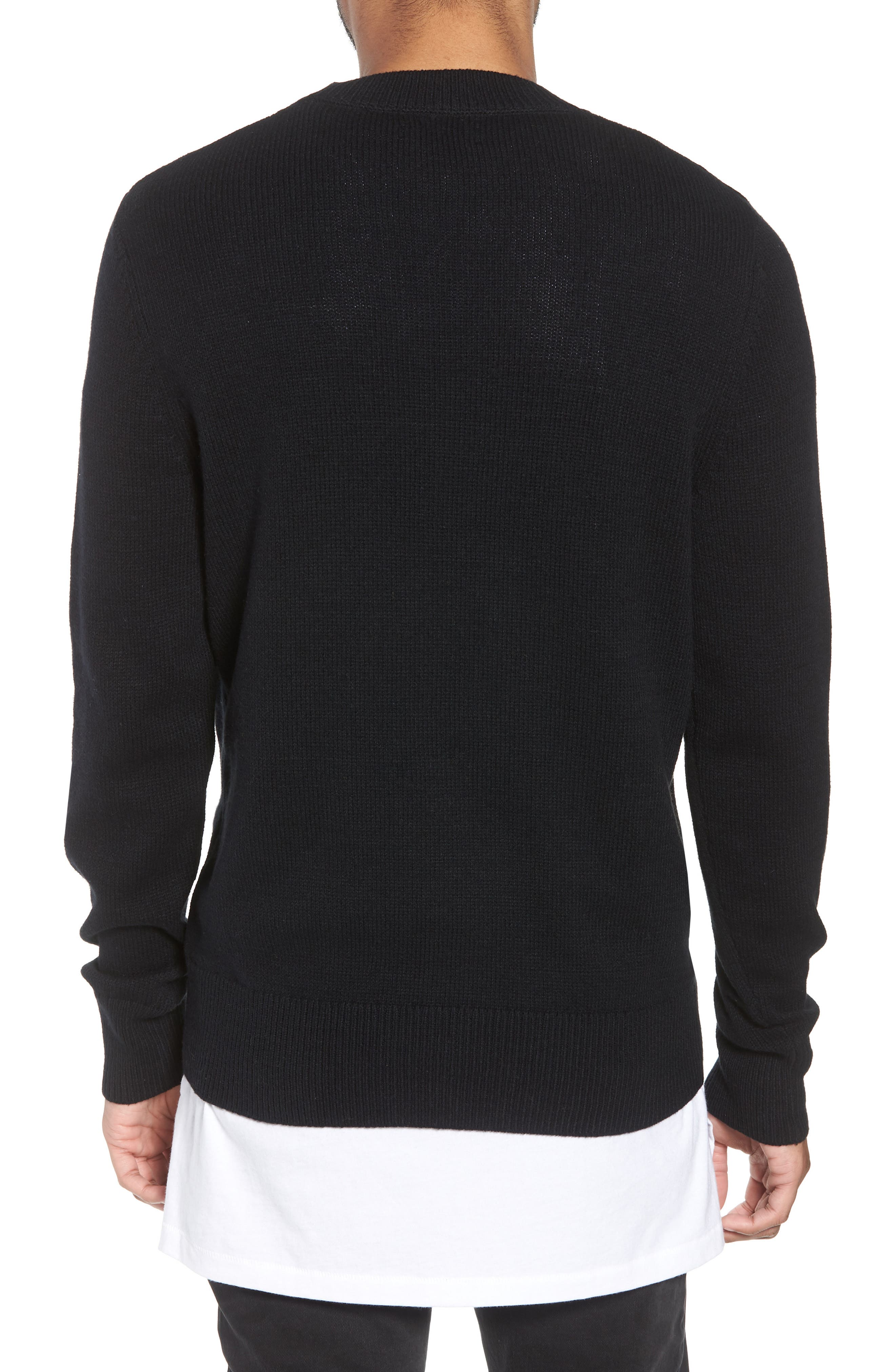 Crewneck Sweater,                             Alternate thumbnail 2, color,                             BLACK ROCK