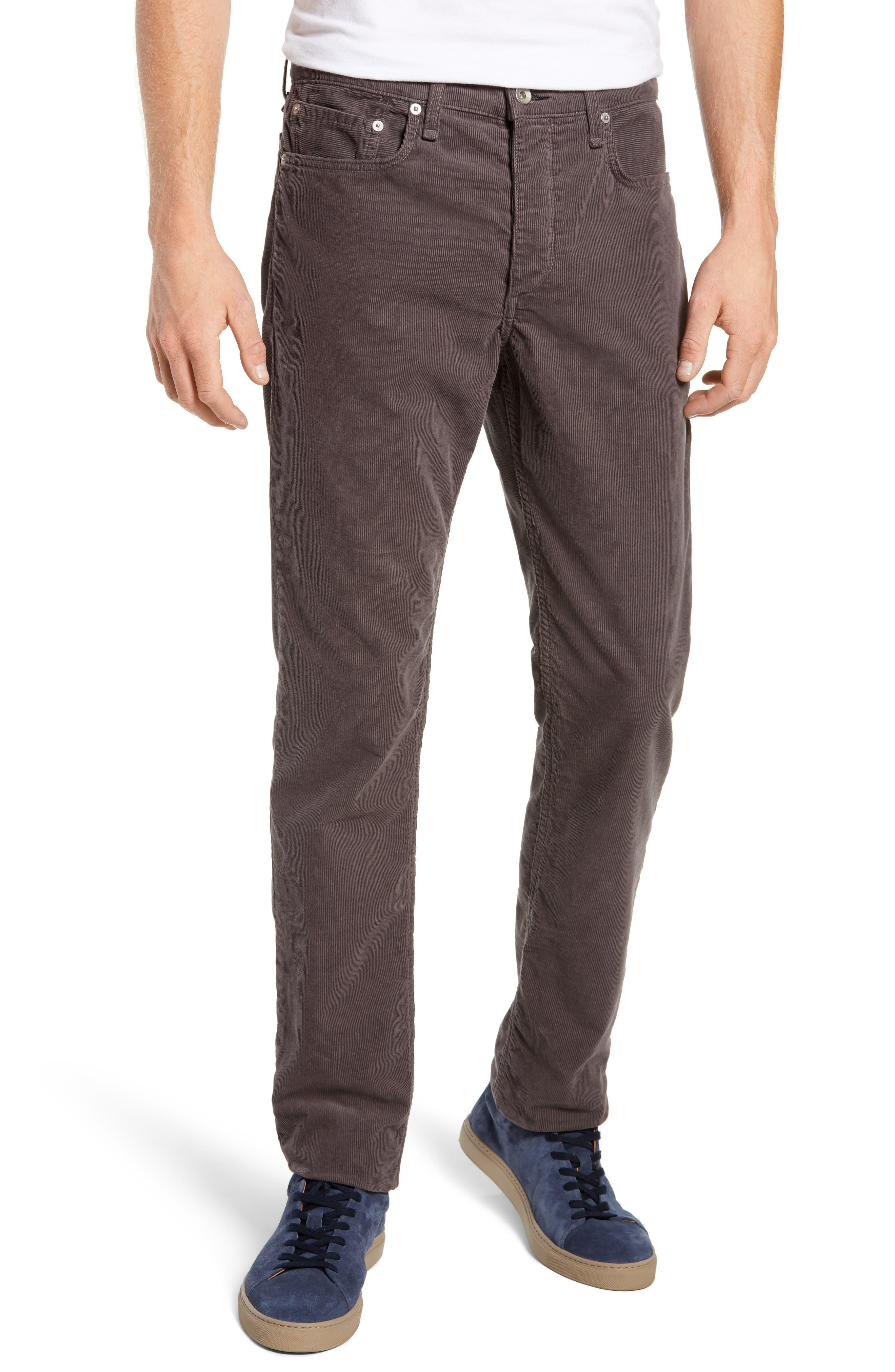 Slim Fit Corduroy Pants,                         Main,                         color, CHARCOAL