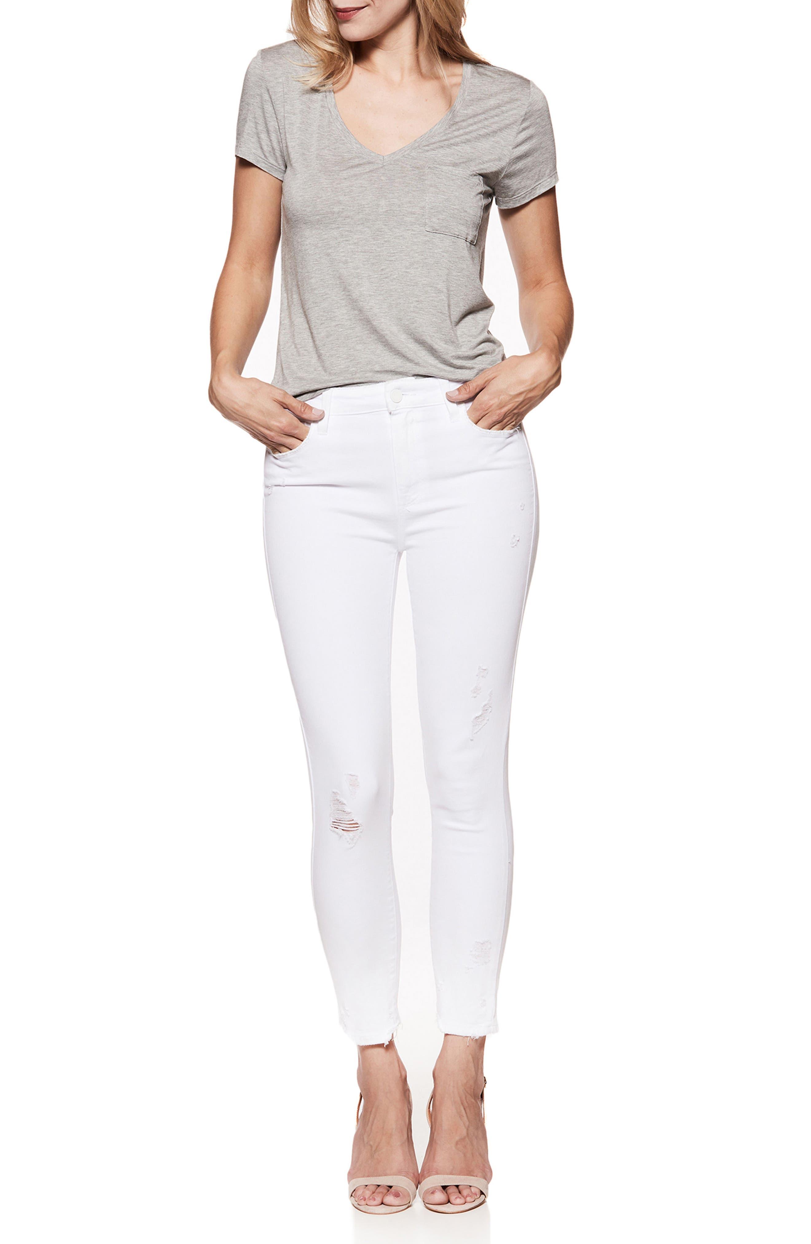 Hoxton High Waist Ankle Skinny Jeans,                             Alternate thumbnail 3, color,                             CRISP WHITE DESTRUCTED