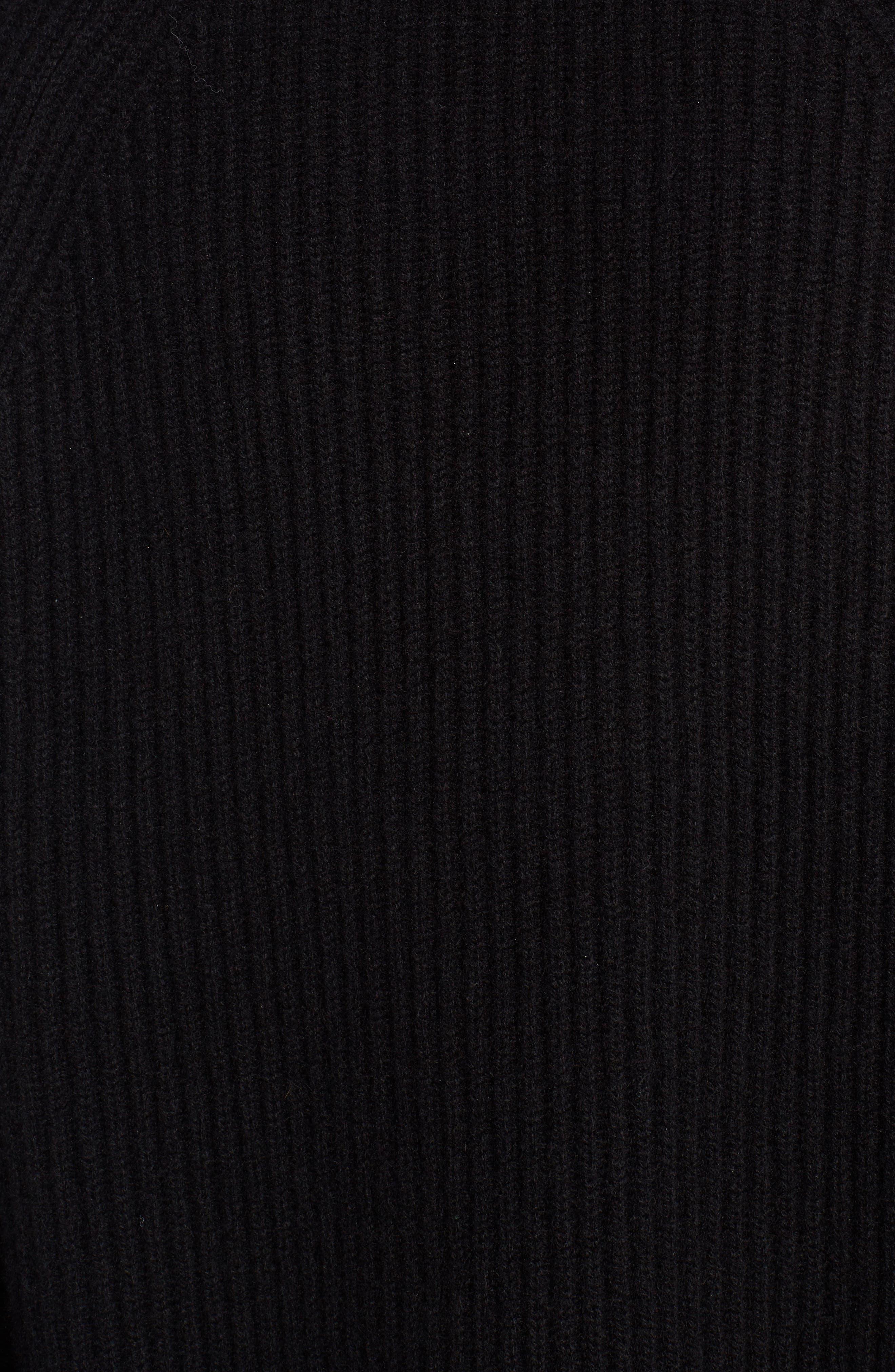 Cashmere & Genuine Mink Fur Sweater,                             Alternate thumbnail 5, color,                             BLACK