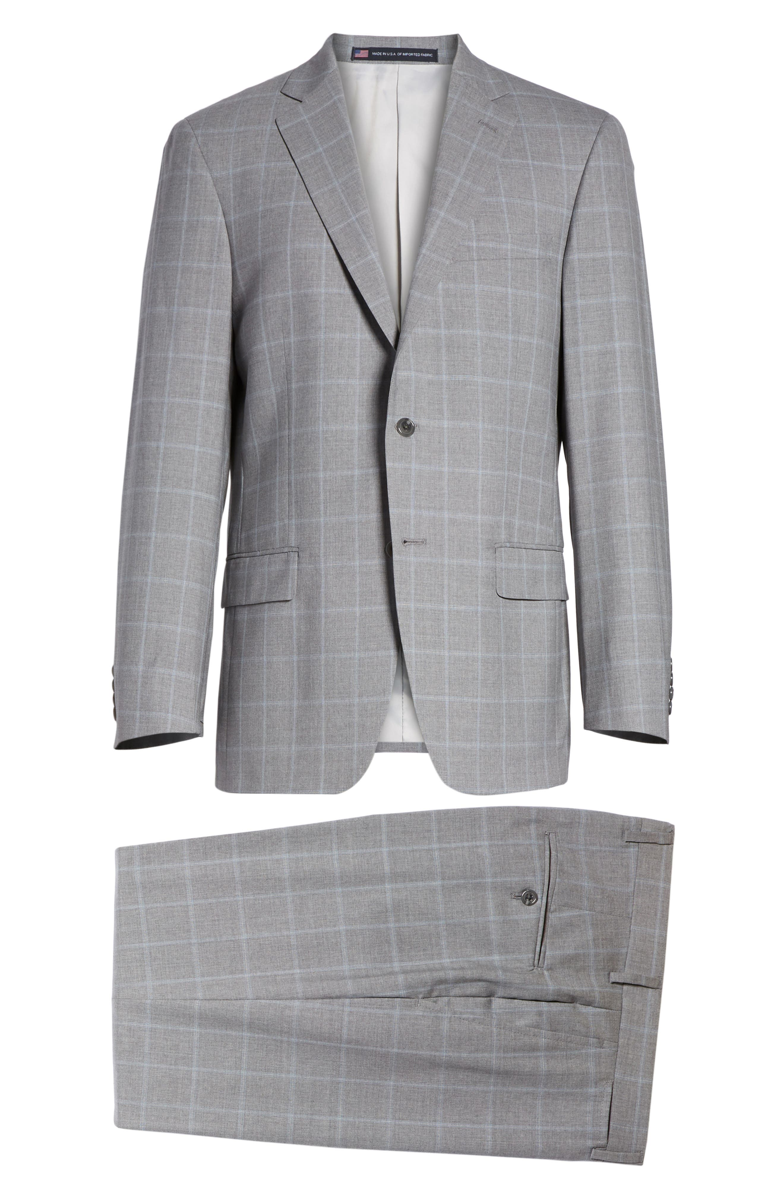 Classic Fit Windowpane Wool Suit,                             Alternate thumbnail 8, color,                             050