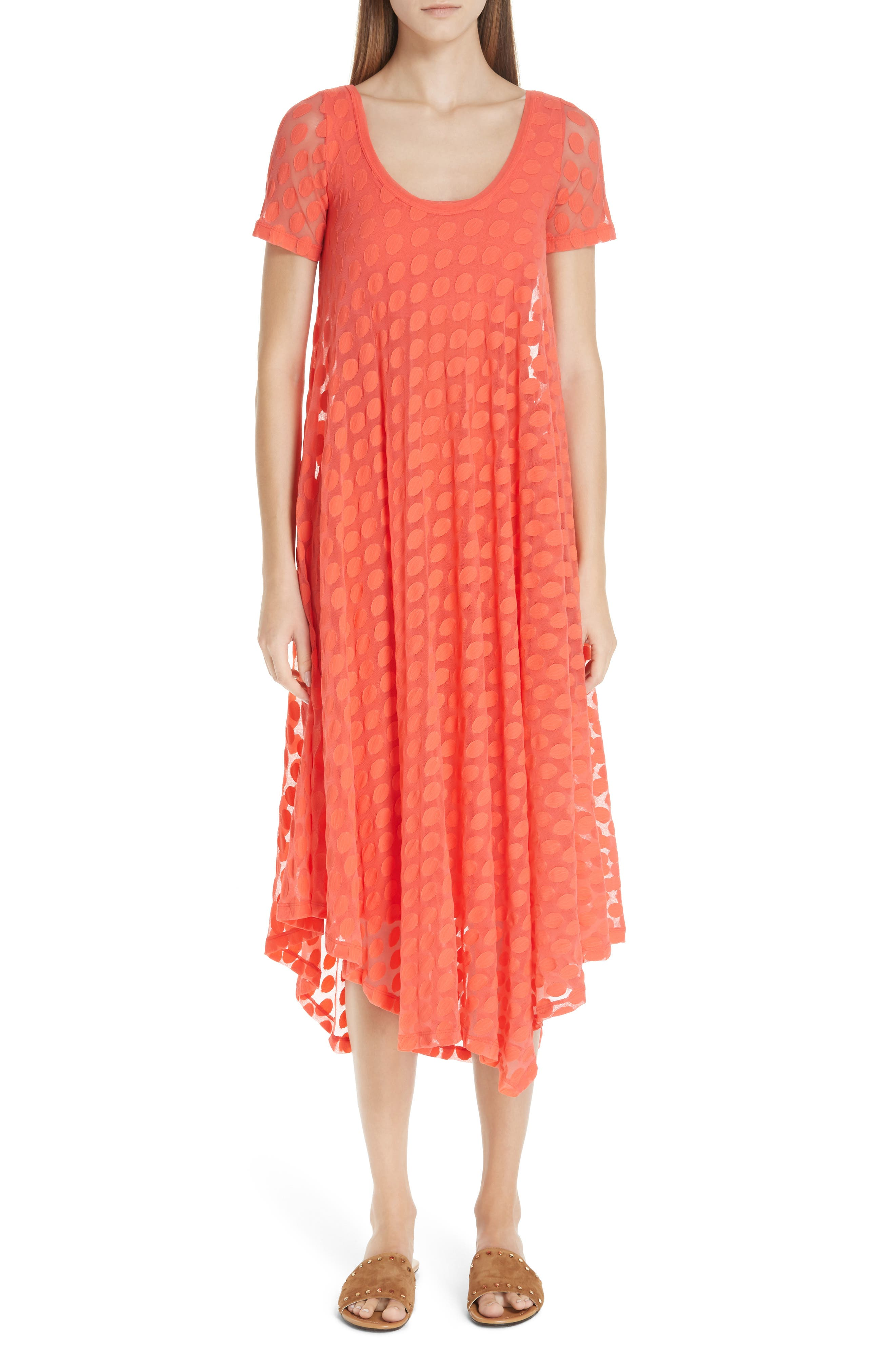 Fuzzi Dot Tulle Dress, Orange