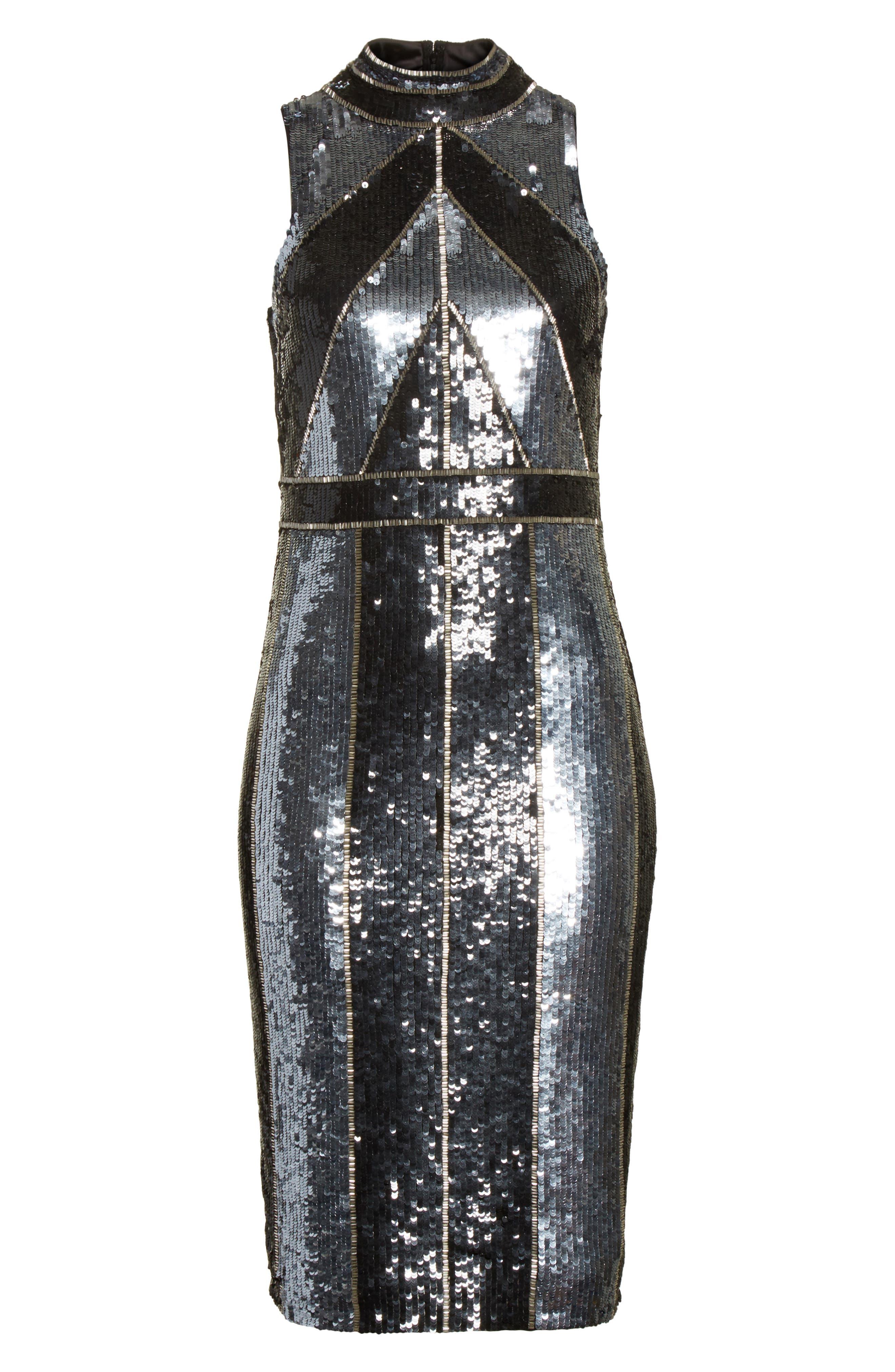 Rashmi Sequin Sheath Dress,                             Alternate thumbnail 6, color,