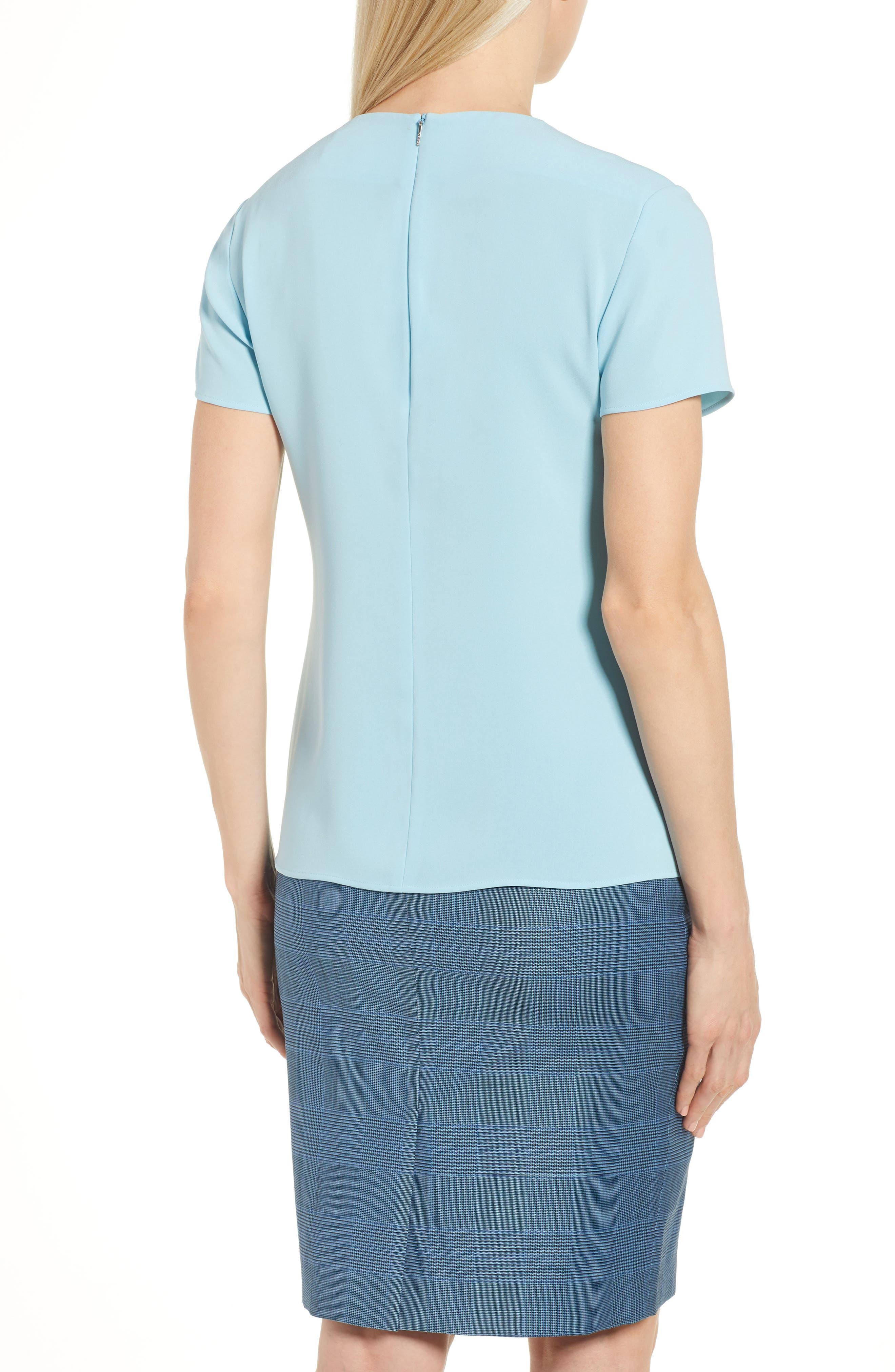 Ilyna Crepe Short Sleeve Top,                             Alternate thumbnail 2, color,                             LAGOON BLUE