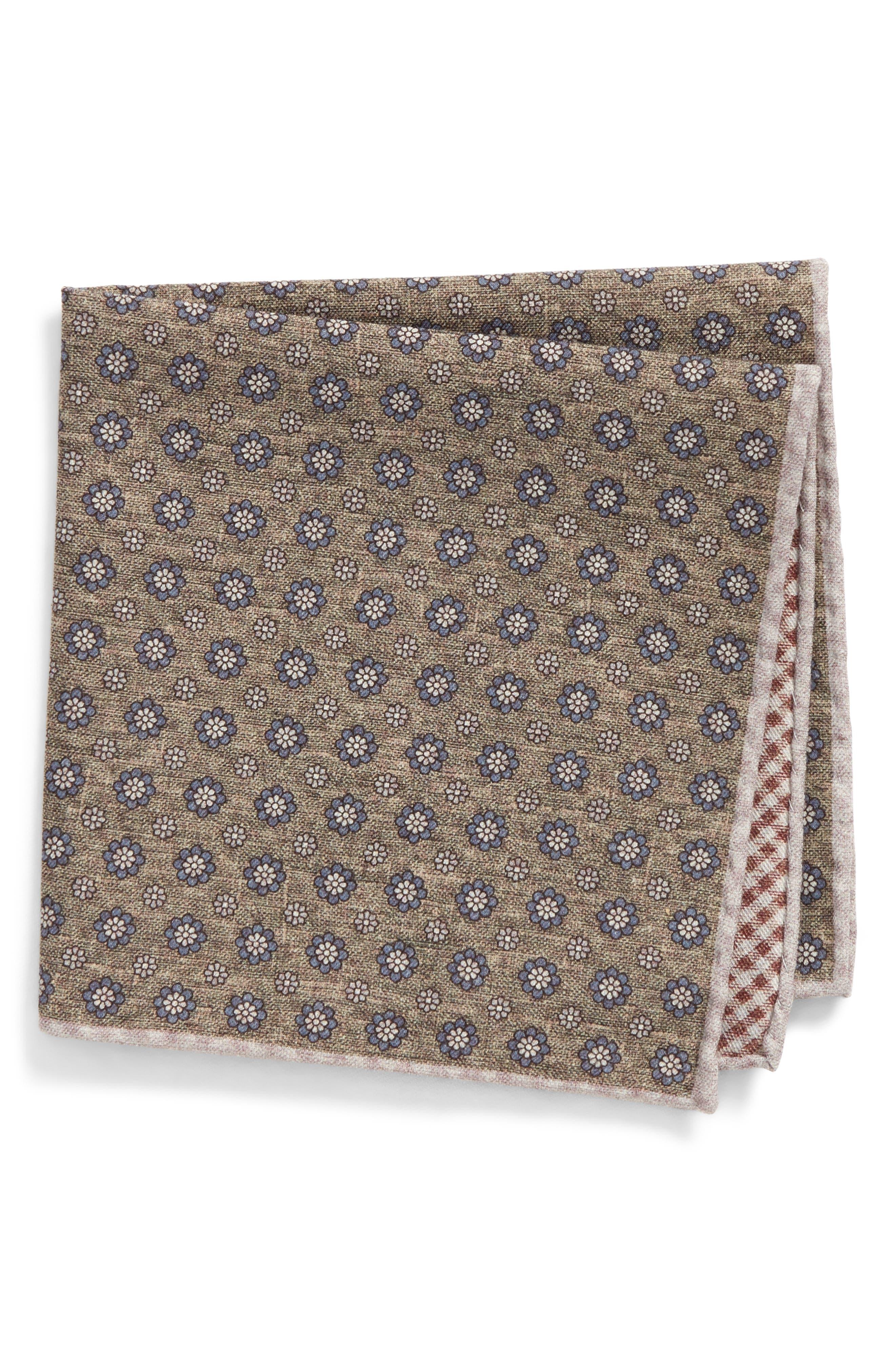 Medallion Wool & Cotton Pocket Square,                         Main,                         color, 328