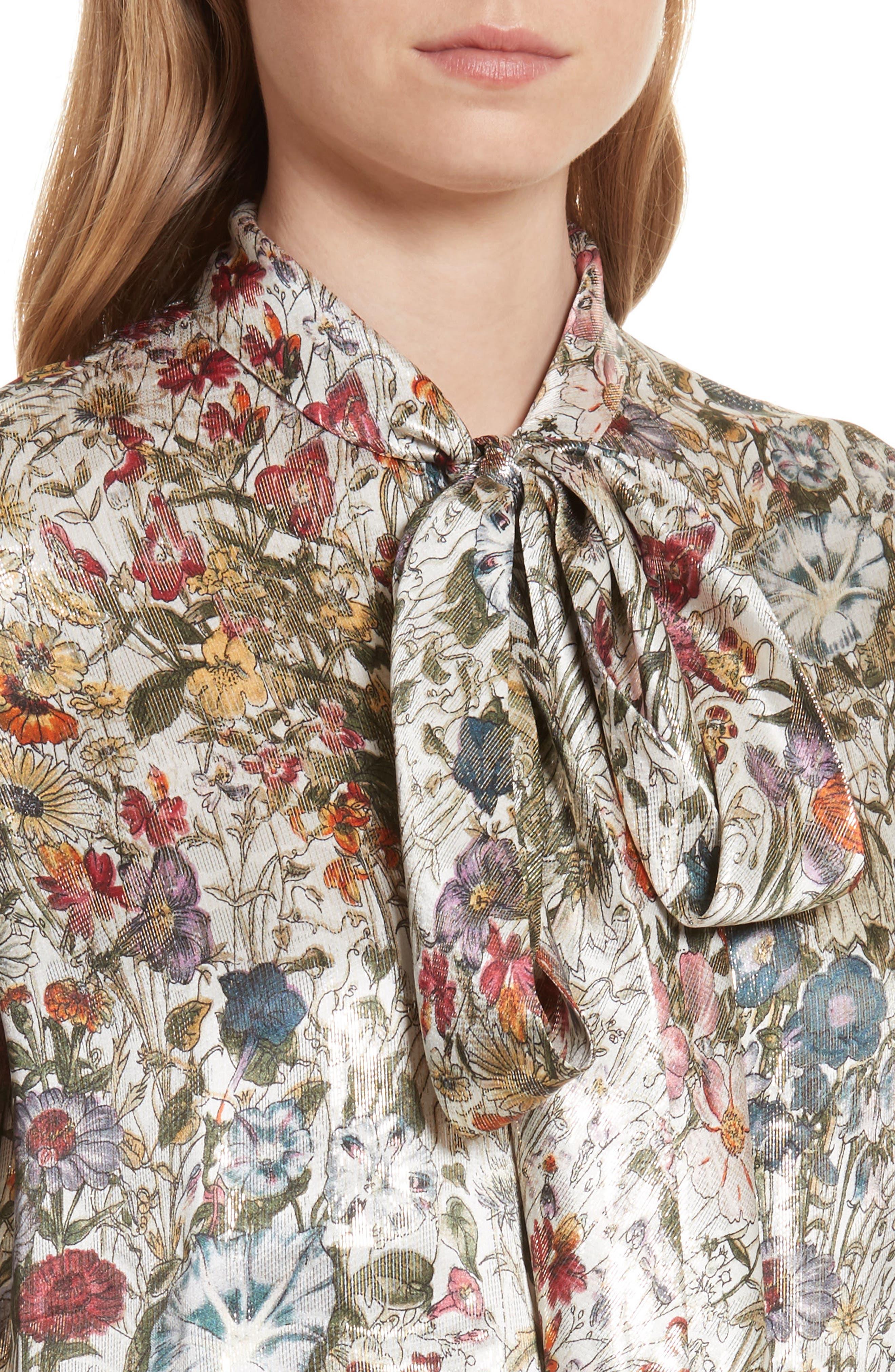 Tie Neck Metallic Floral Blouse,                             Alternate thumbnail 4, color,                             199