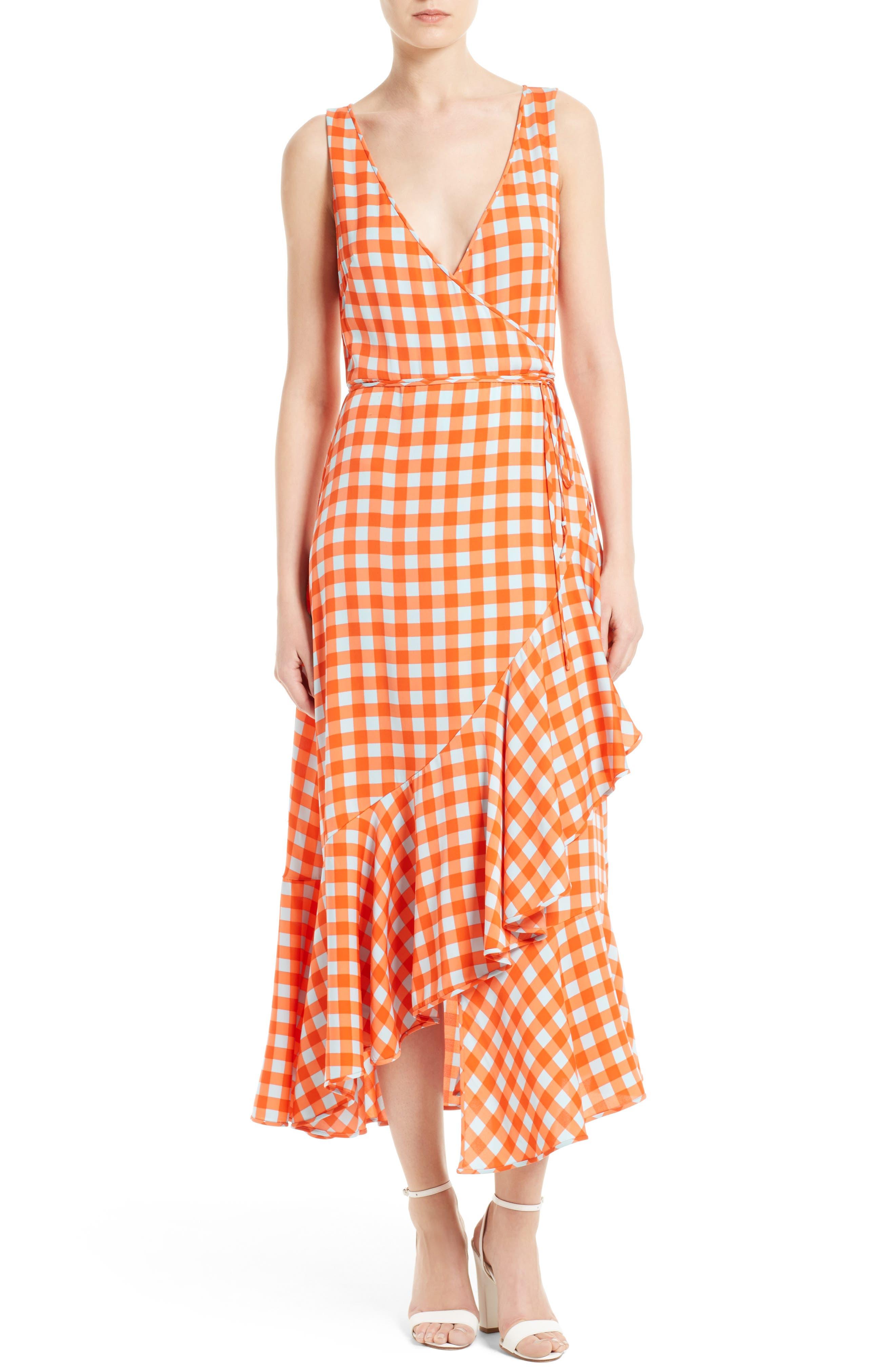 Check Ruffle Hem Wrap Dress,                             Main thumbnail 1, color,