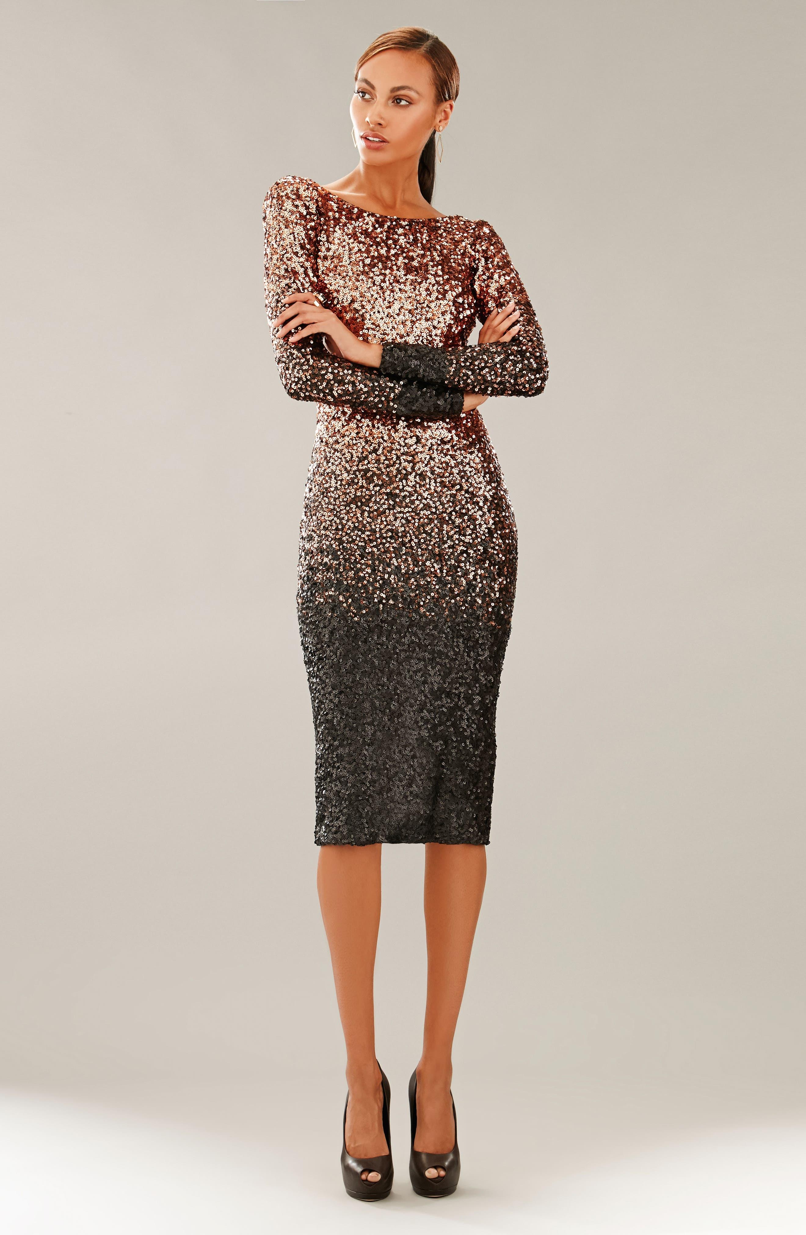 Emery Ombré Sequin Body-Con Dress,                             Alternate thumbnail 25, color,