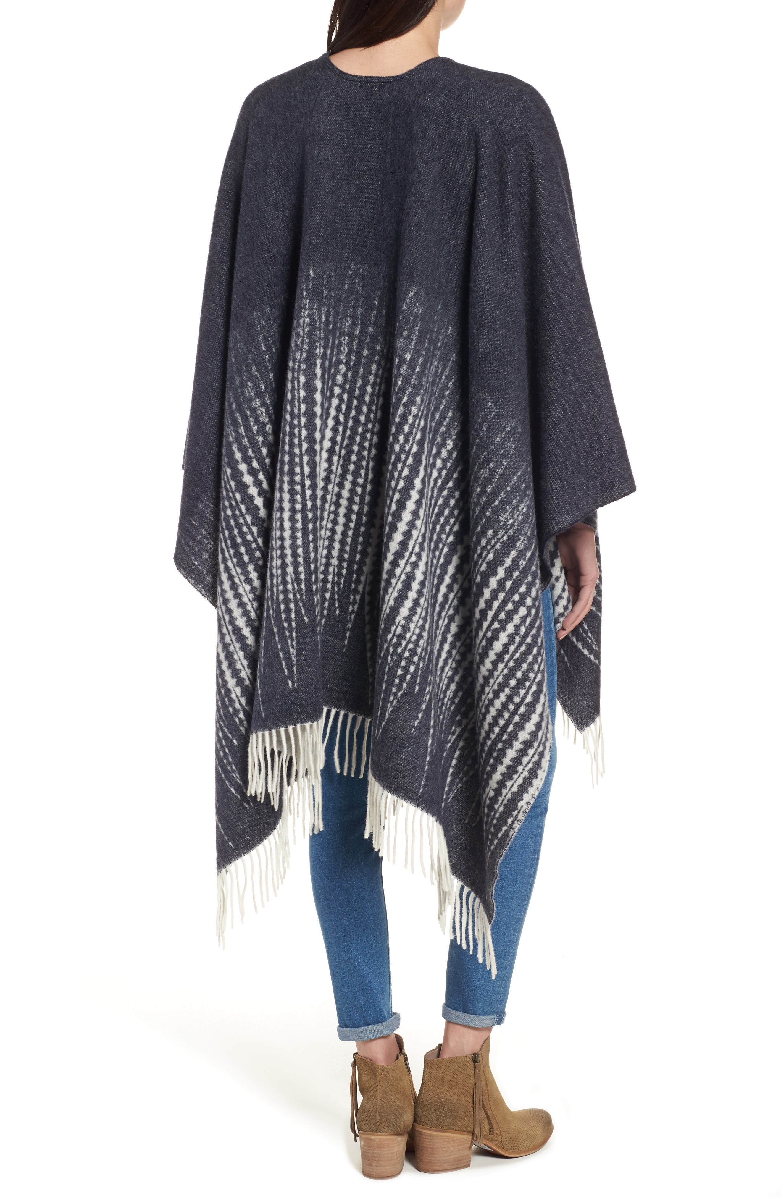 Feather Print Wool Wrap,                             Alternate thumbnail 2, color,