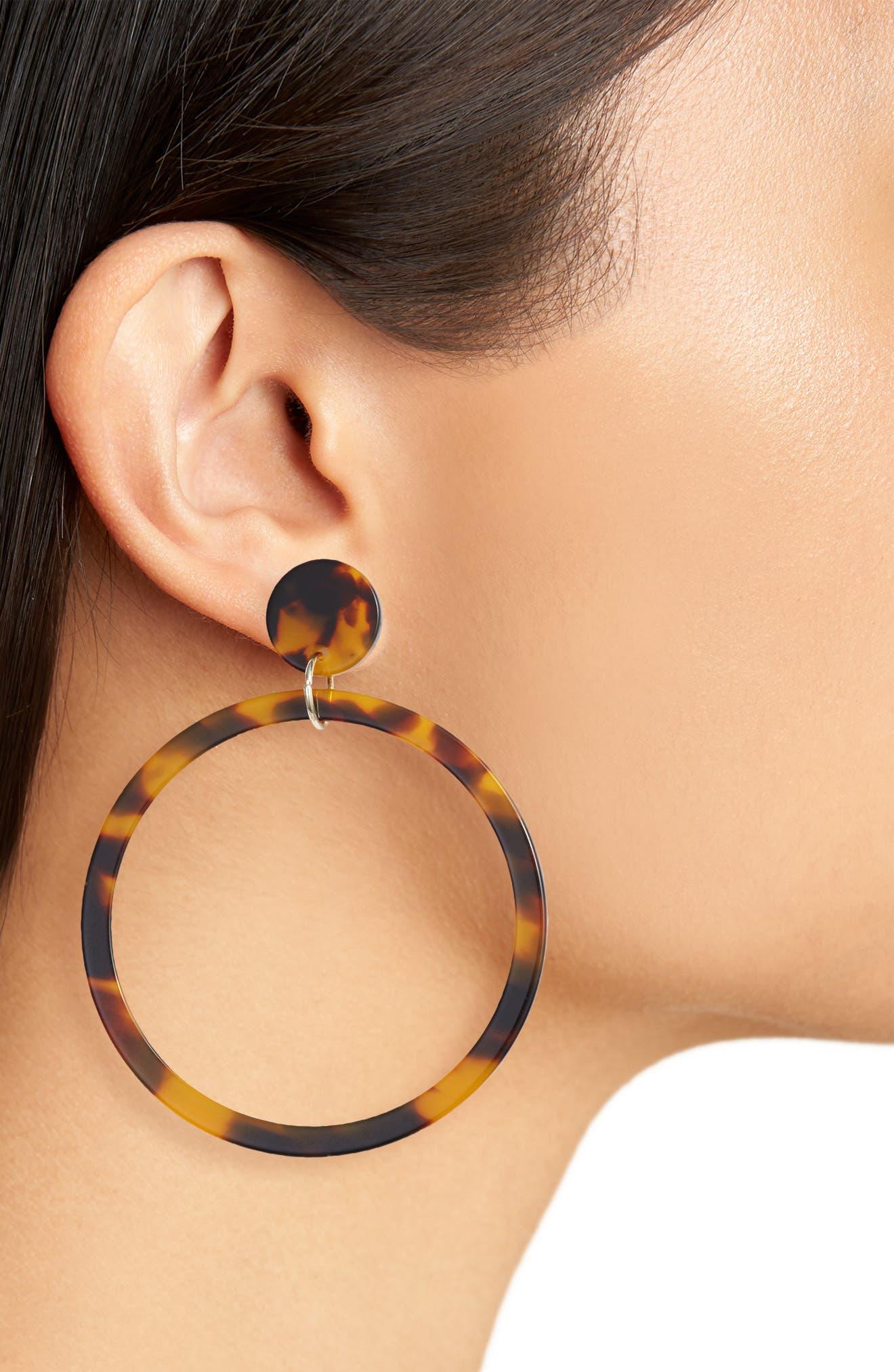 STERLING FOREVER,                             Stud Hoop Earrings,                             Alternate thumbnail 2, color,                             TORTOISE
