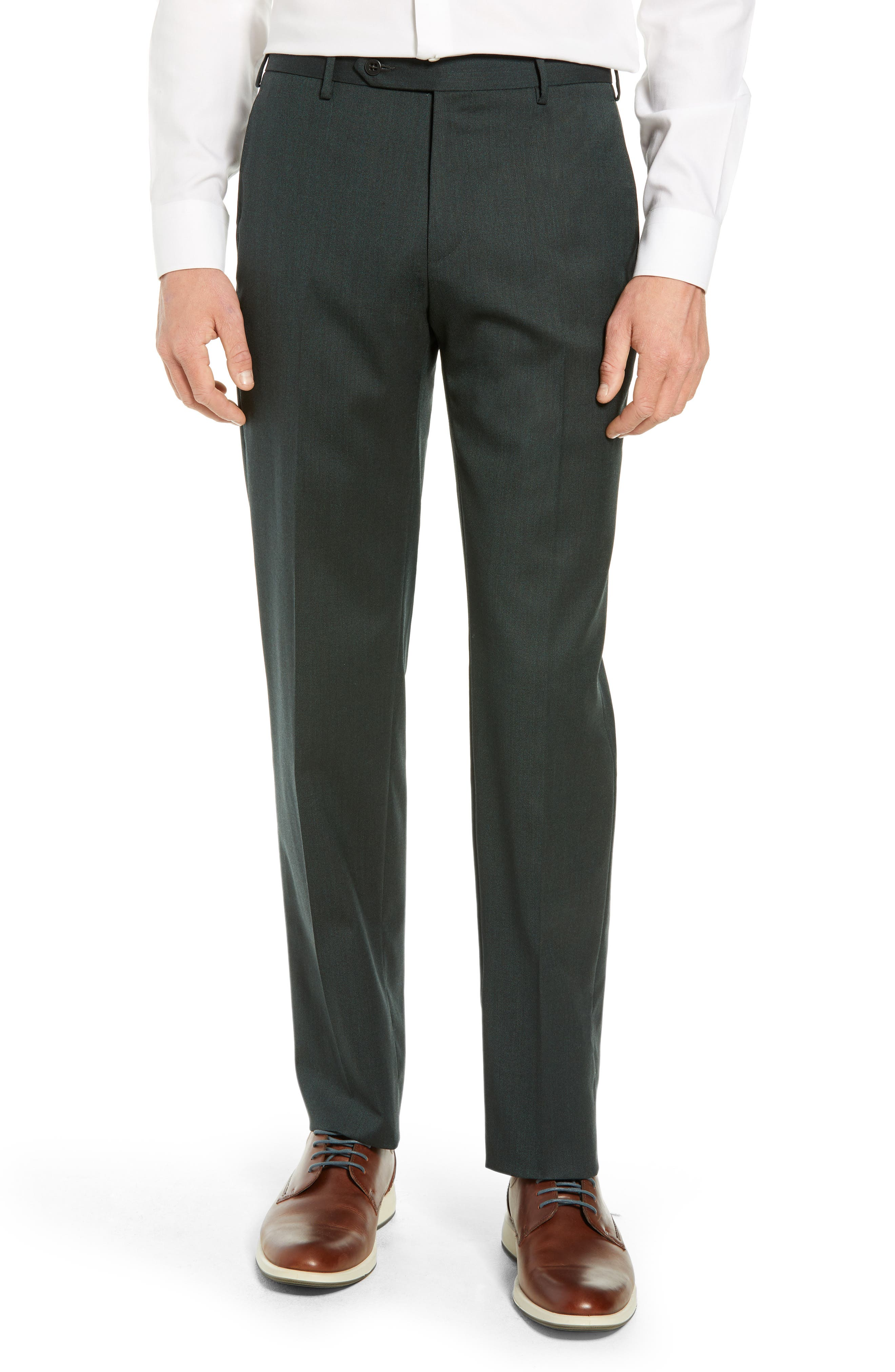 Parker Flat Front Stretch Twill Wool Trousers,                         Main,                         color, OLIVE