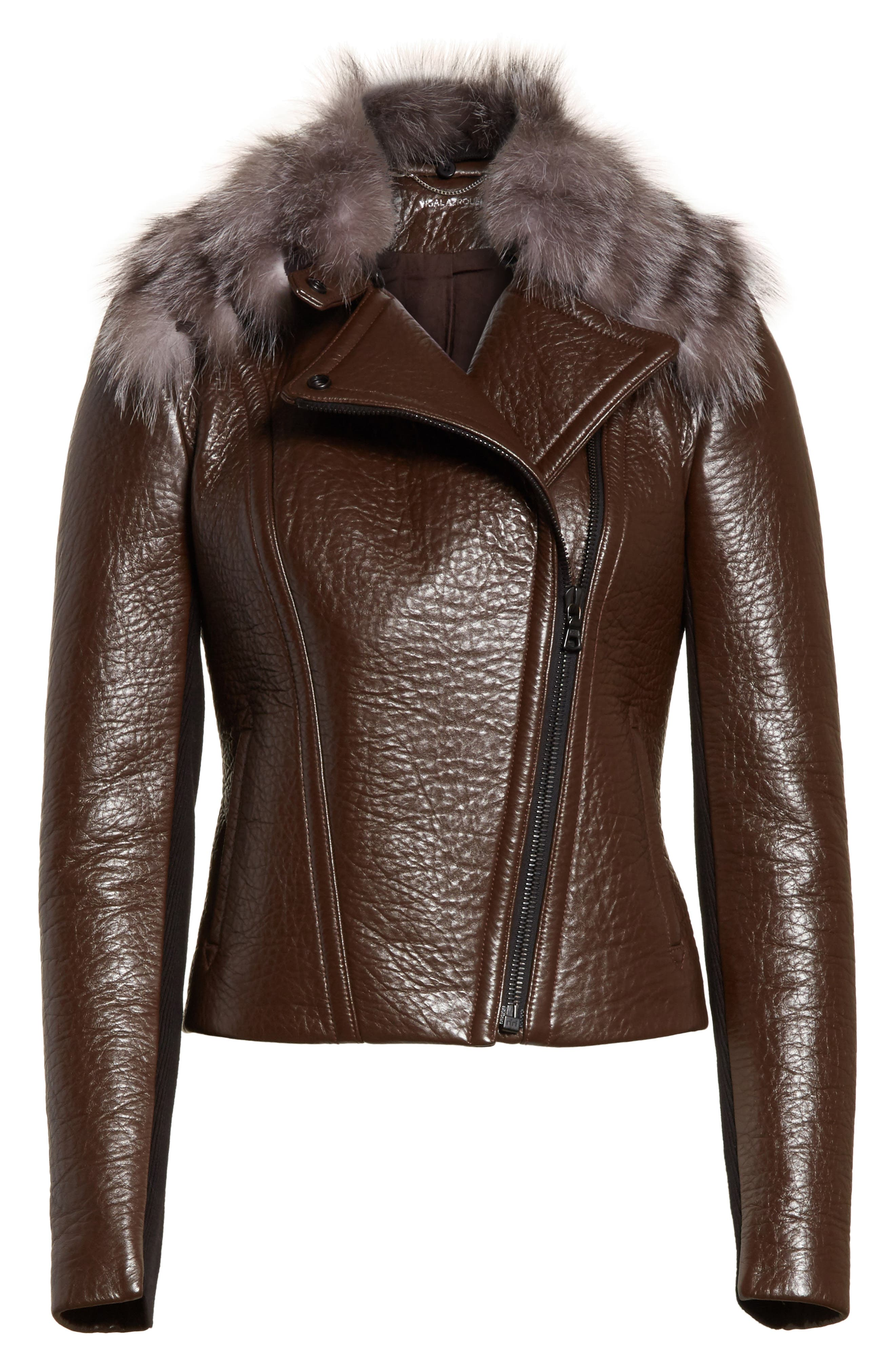 Bonded Moto Leather Jacket with Removable Genuine Fox Fur Collar,                             Alternate thumbnail 5, color,                             219