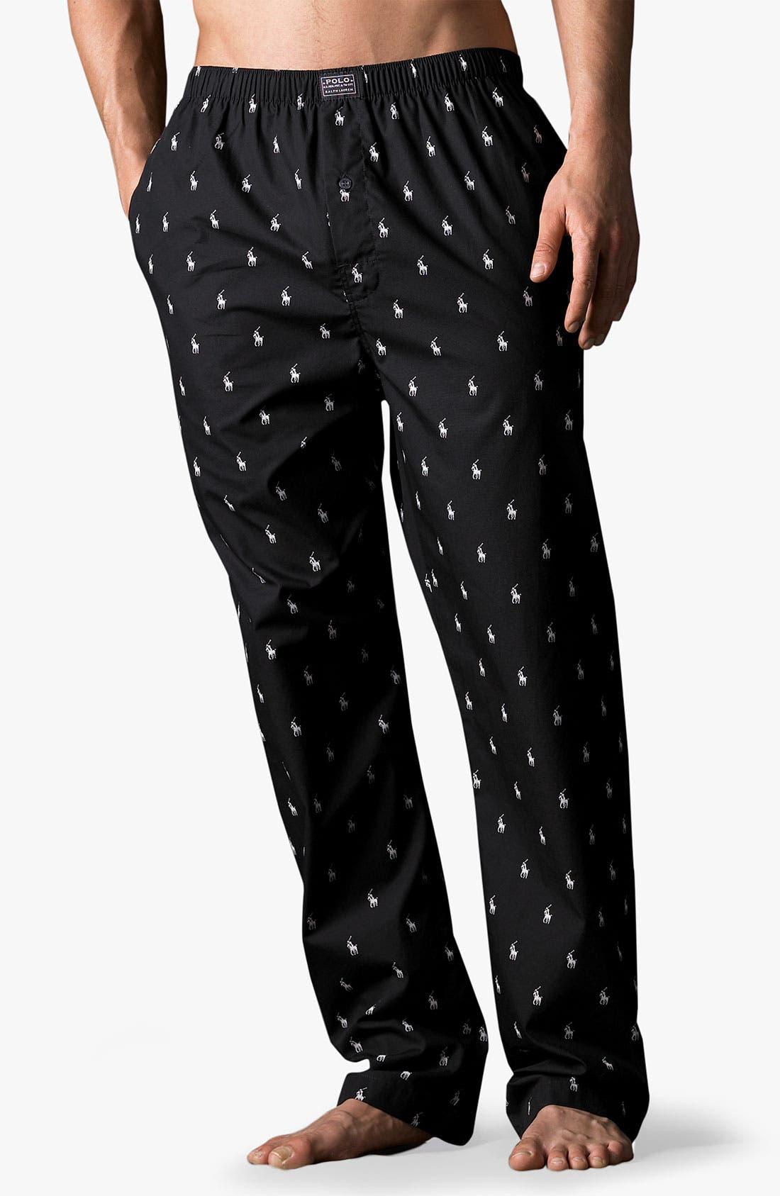 POLO RALPH LAUREN,                             Print Pajama Pants,                             Main thumbnail 1, color,                             RL BLACK