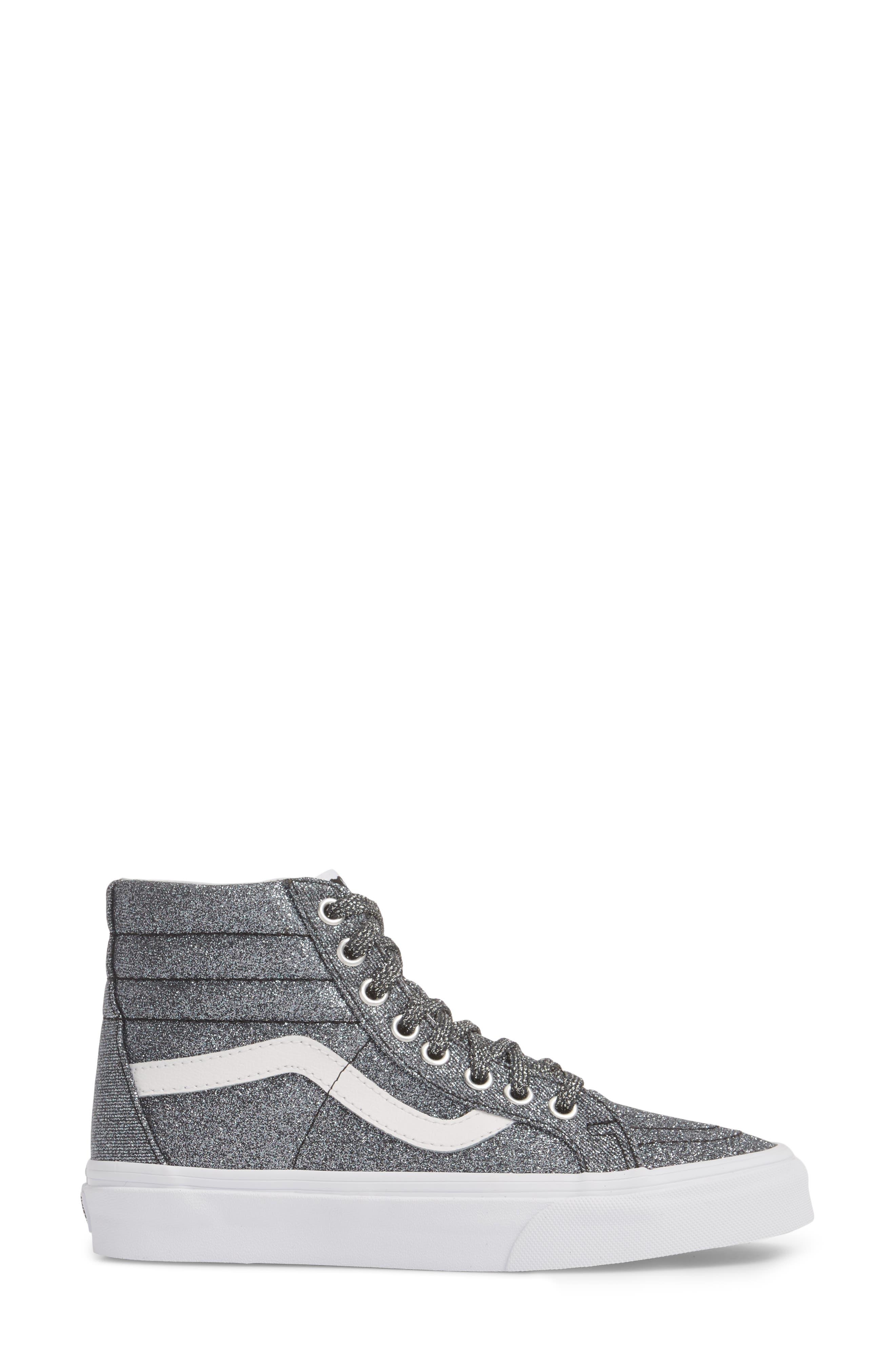 UA Sk8-Hi Reissue Glitter Sneaker,                             Alternate thumbnail 3, color,                             001