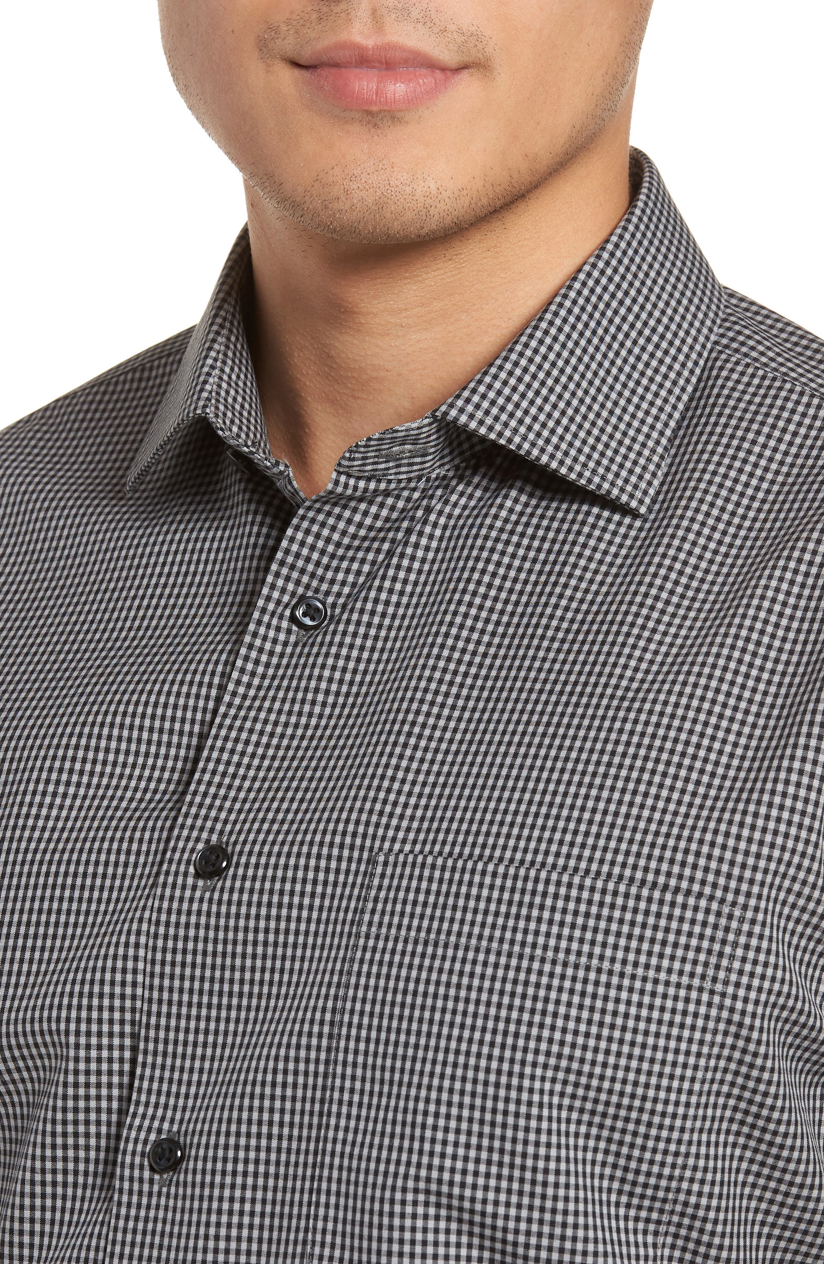 Smartcare<sup>™</sup> Trim Fit Check Dress Shirt,                             Alternate thumbnail 2, color,                             001