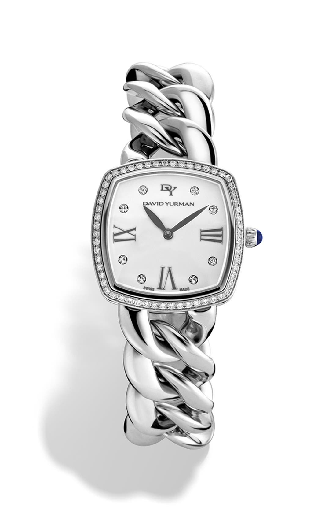 'Albion' 27mm Stainless Steel Quartz Watch with Diamonds,                         Main,                         color, SILVER