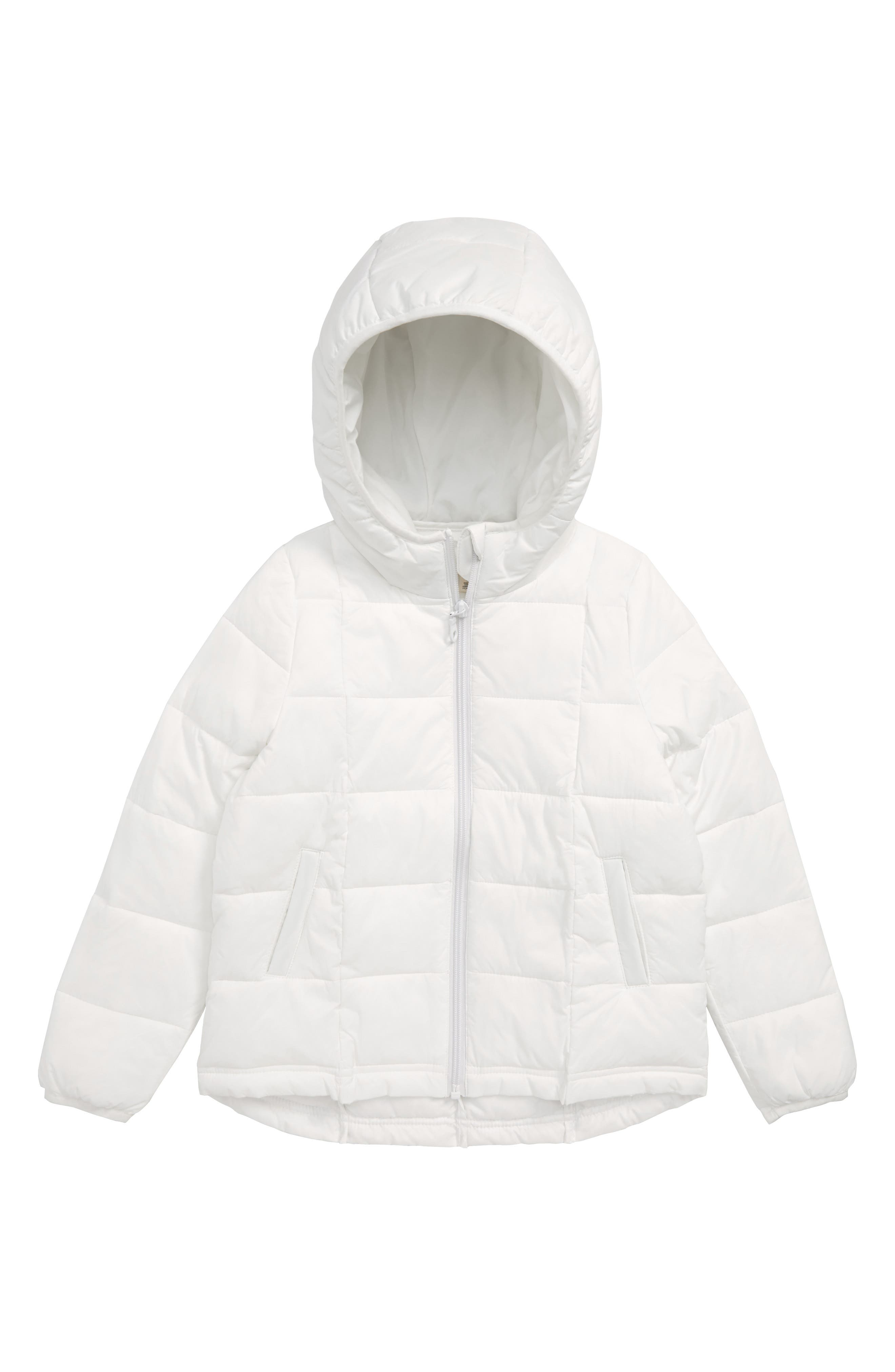 Packable Hooded Nylon Puffer Jacket,                         Main,                         color, WHITE
