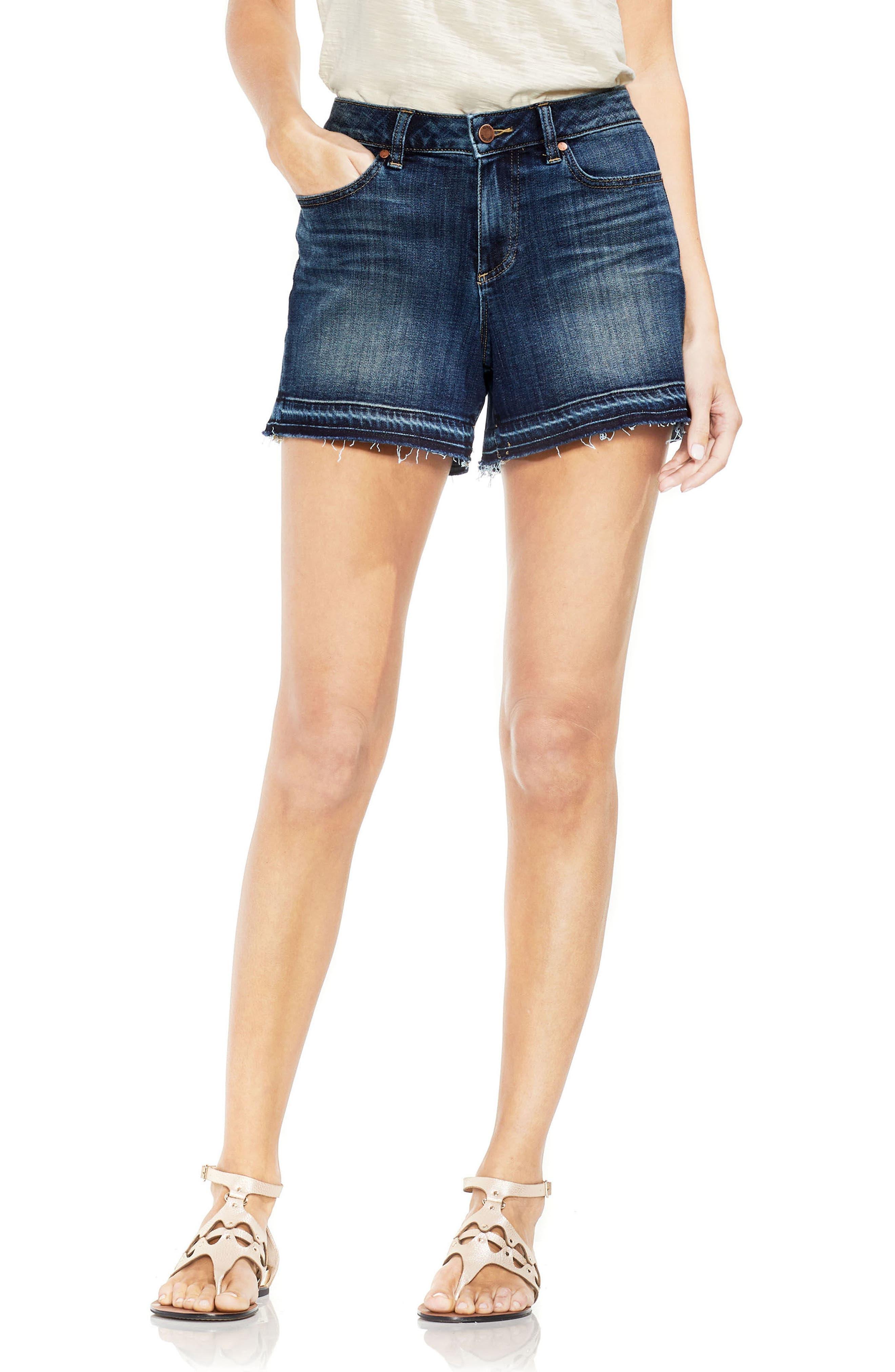 VINCE CAMUTO Release Hem Denim Shorts, Main, color, MID VINTAGE