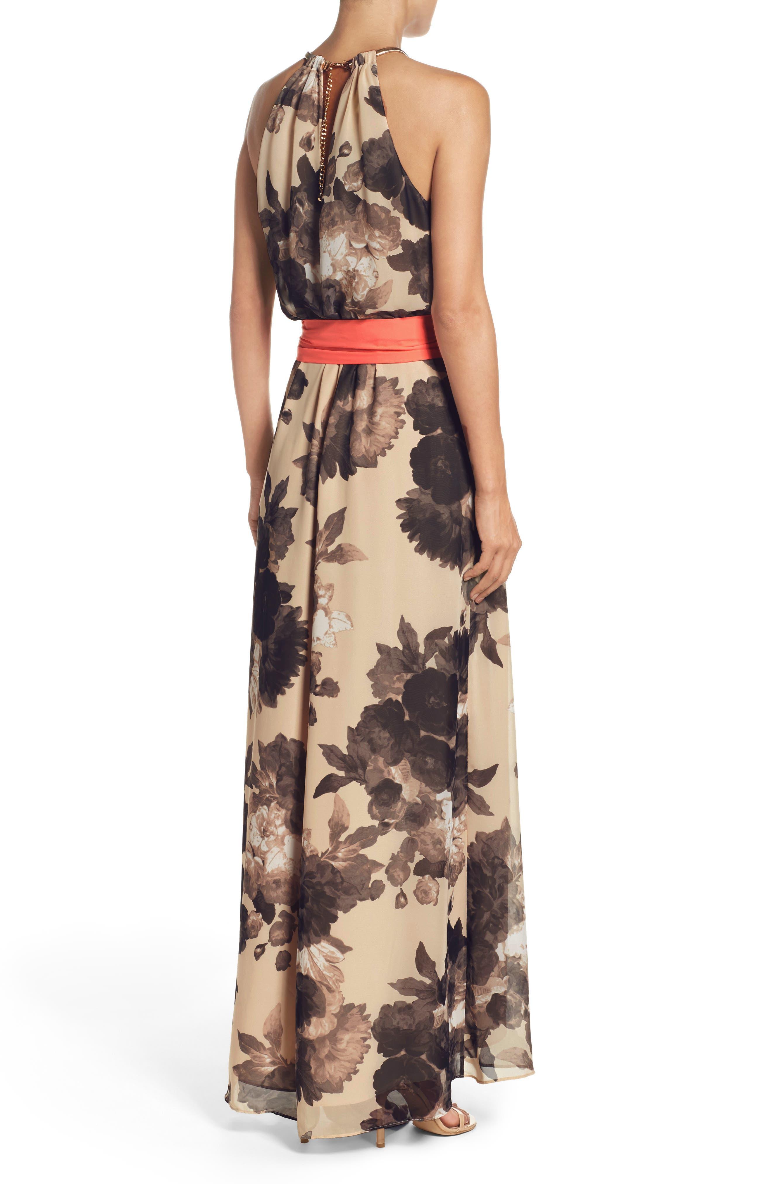 Floral Print Halter Chiffon Maxi Dress,                             Alternate thumbnail 2, color,                             TAUPE/ BLACK