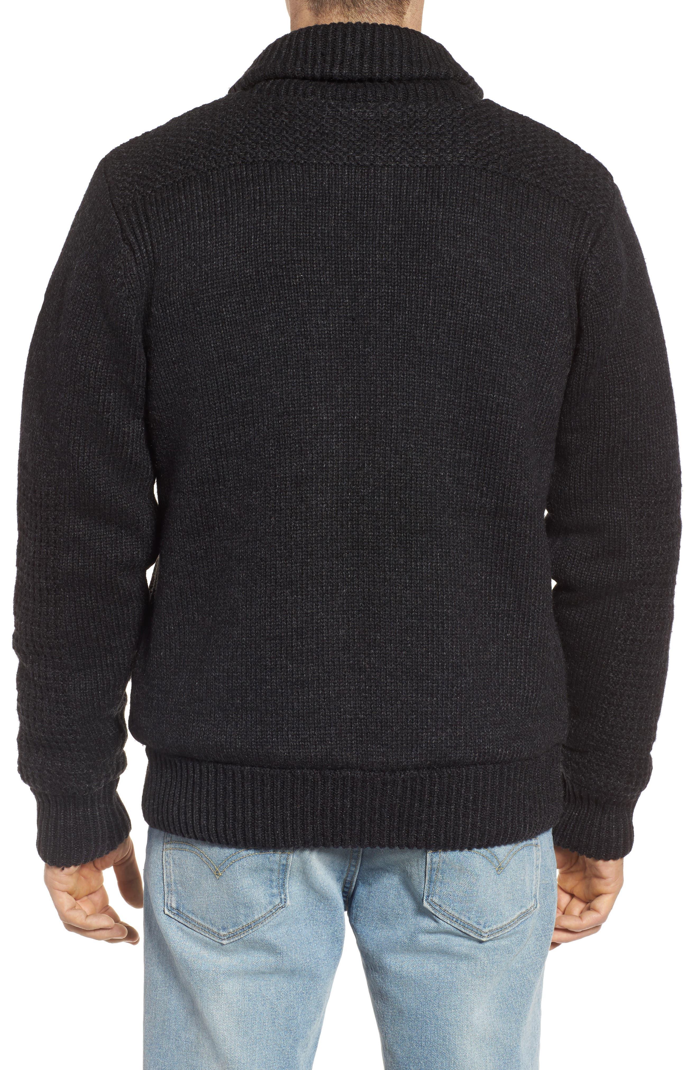 SCHOTT NYC,                             Lined Wool Zip Sweater,                             Alternate thumbnail 2, color,                             BLACK