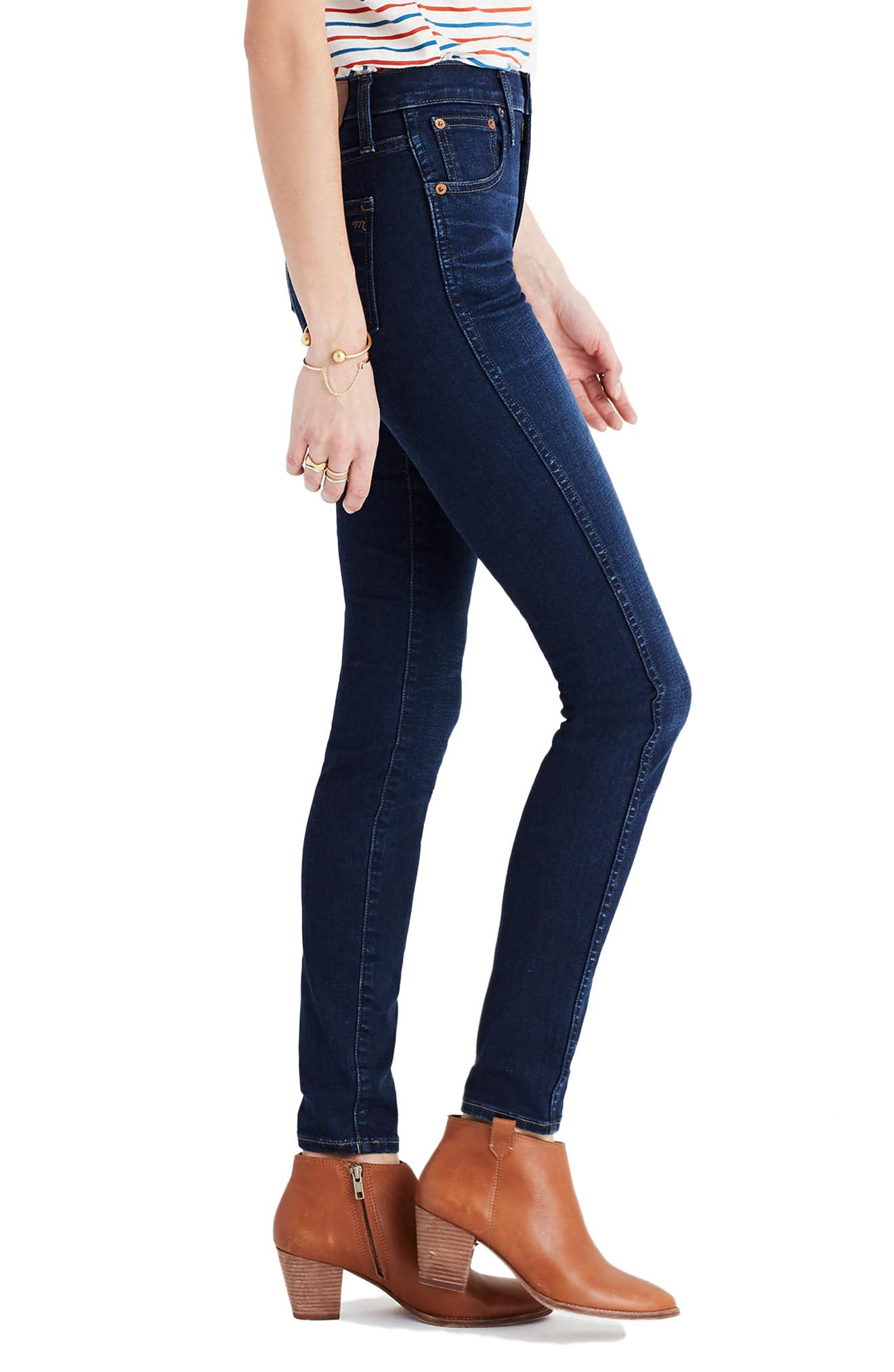 MADEWELL,                             10-Inch High Rise Skinny Jeans,                             Alternate thumbnail 5, color,                             HAYES WASH