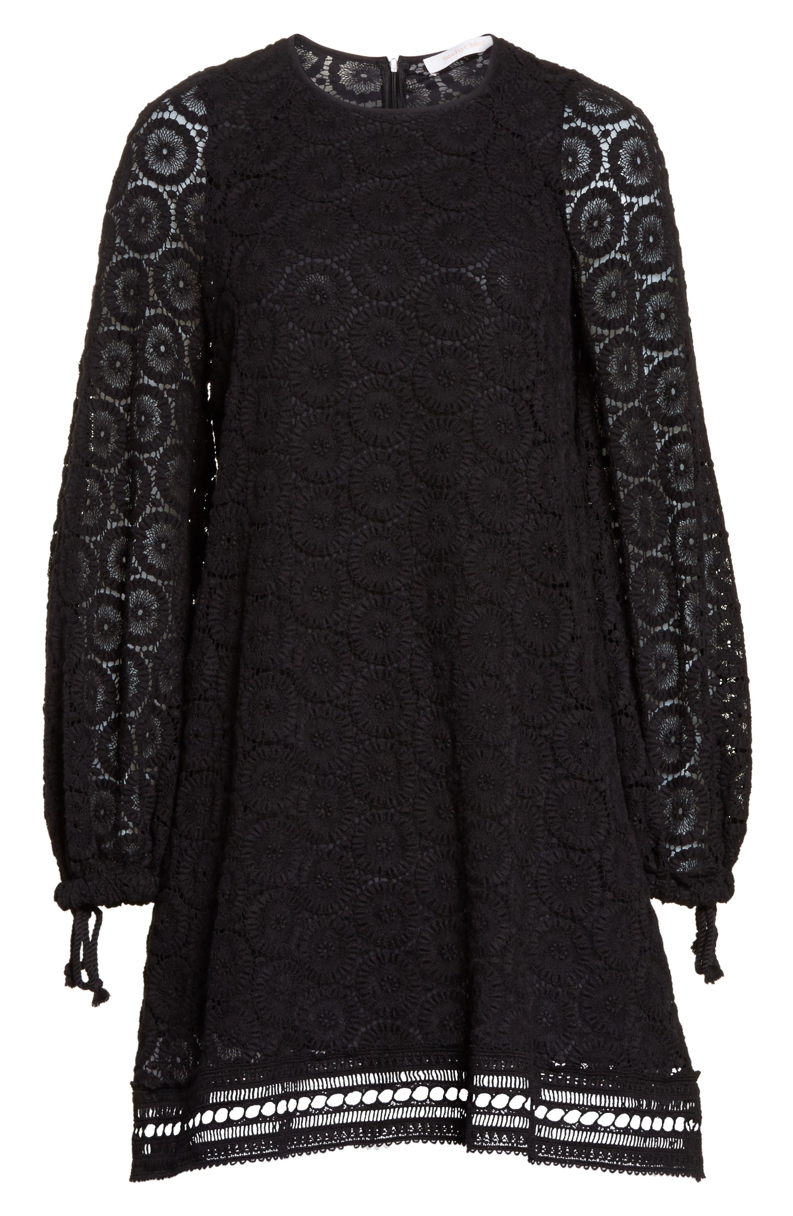 Cotton Crochet Shift Dress,                             Alternate thumbnail 6, color,                             001