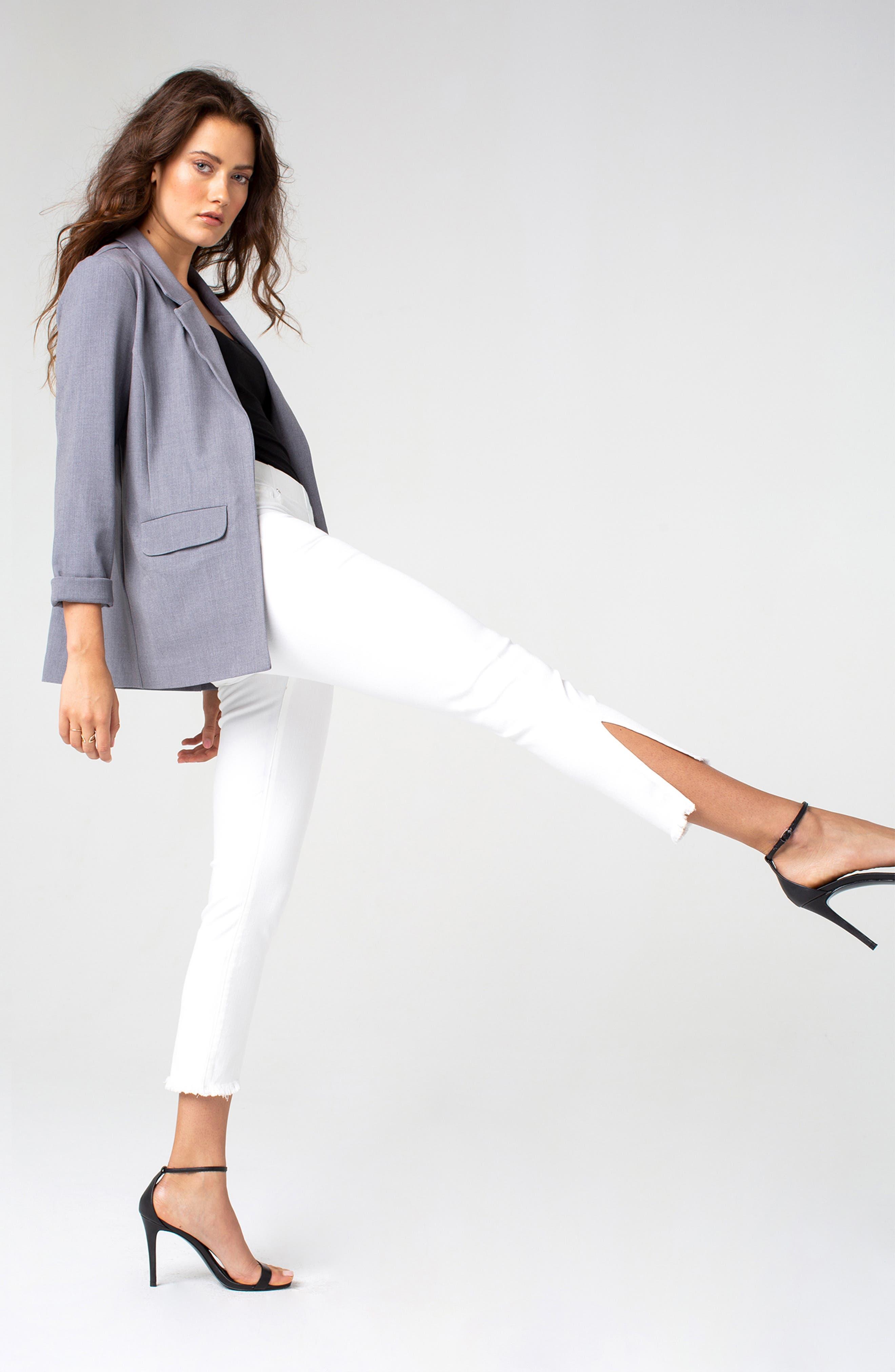 Chloe High Waist Slit Hem Pull-On Skinny Jeans,                             Alternate thumbnail 5, color,                             BRIGHT WHITE